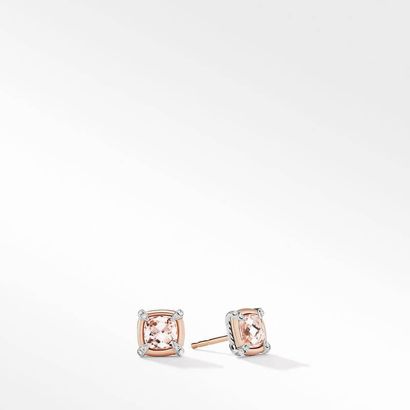 Petite Chatelaine Stud Earrings with 18K Rose Gold Bezel and Diamonds, 7mm