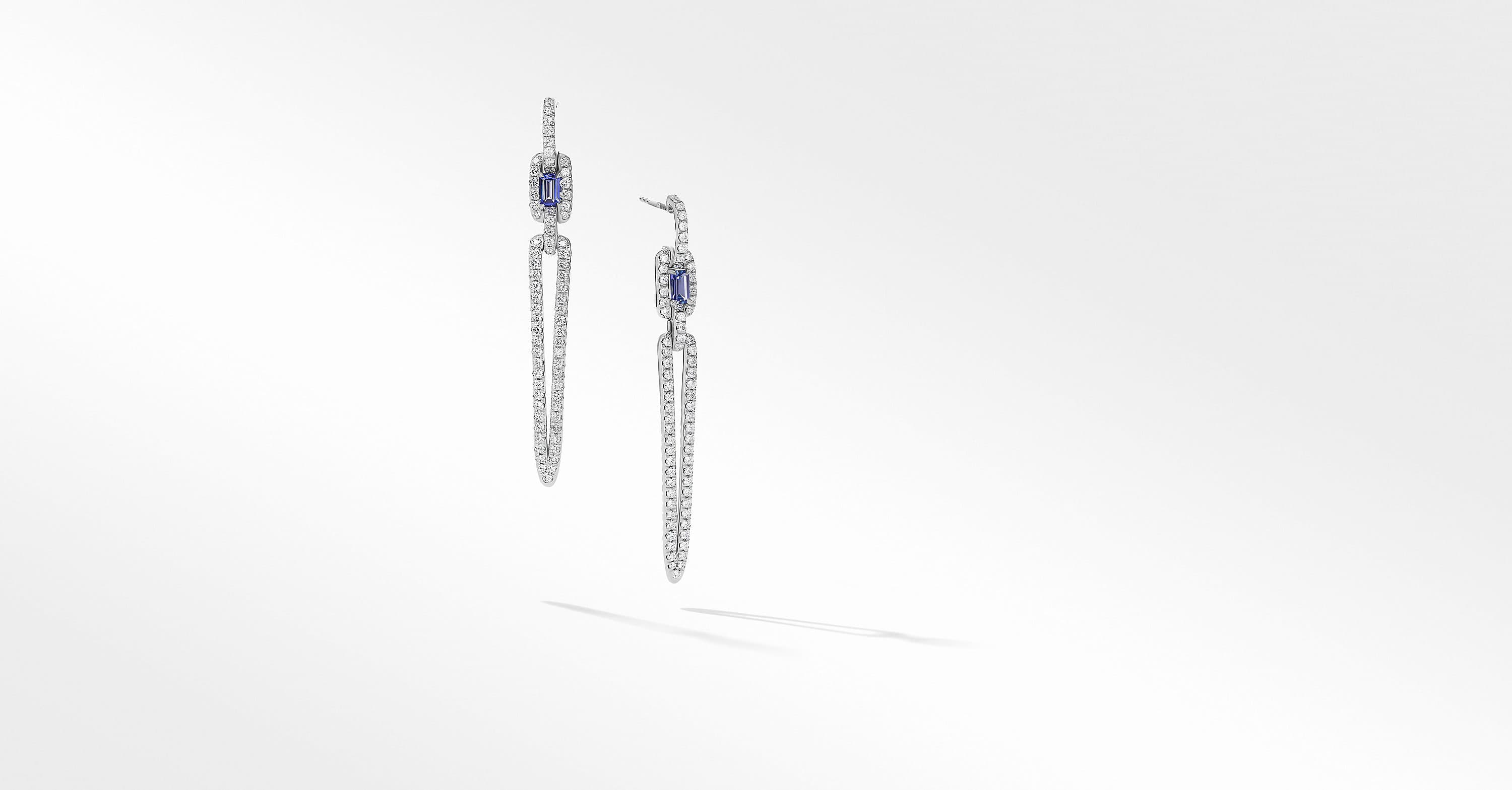 Stax Elongated Stone Drop Earrings in 18K White Gold with Diamonds