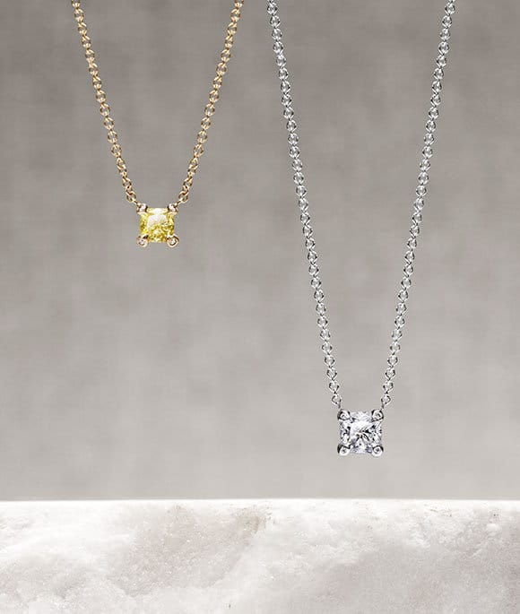 Precious Châtelaine® pendants in 18K yellow and white gold with yellow and white diamonds.
