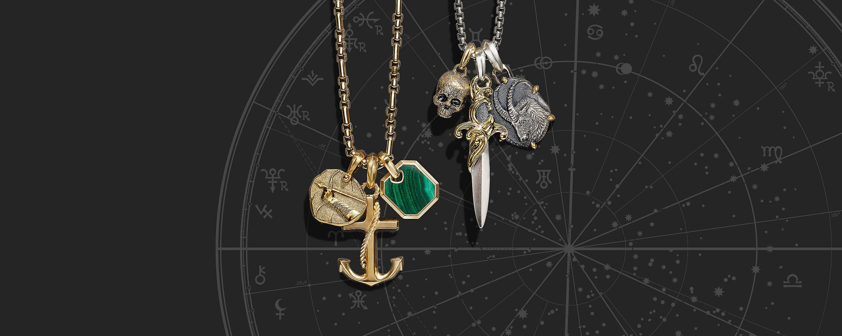 An image shows two chain necklaces threaded with three charms.One necklace and set of charms are crafted from 18K yellow gold depicting an archer's arm with a bow and arrow, an anchor and a hexagon with a center malachite. The other necklace and set of charms are crafted from sterling silver with or without 18K yellow gold accents. These charms depict a skull, a dagger and a sea goat.