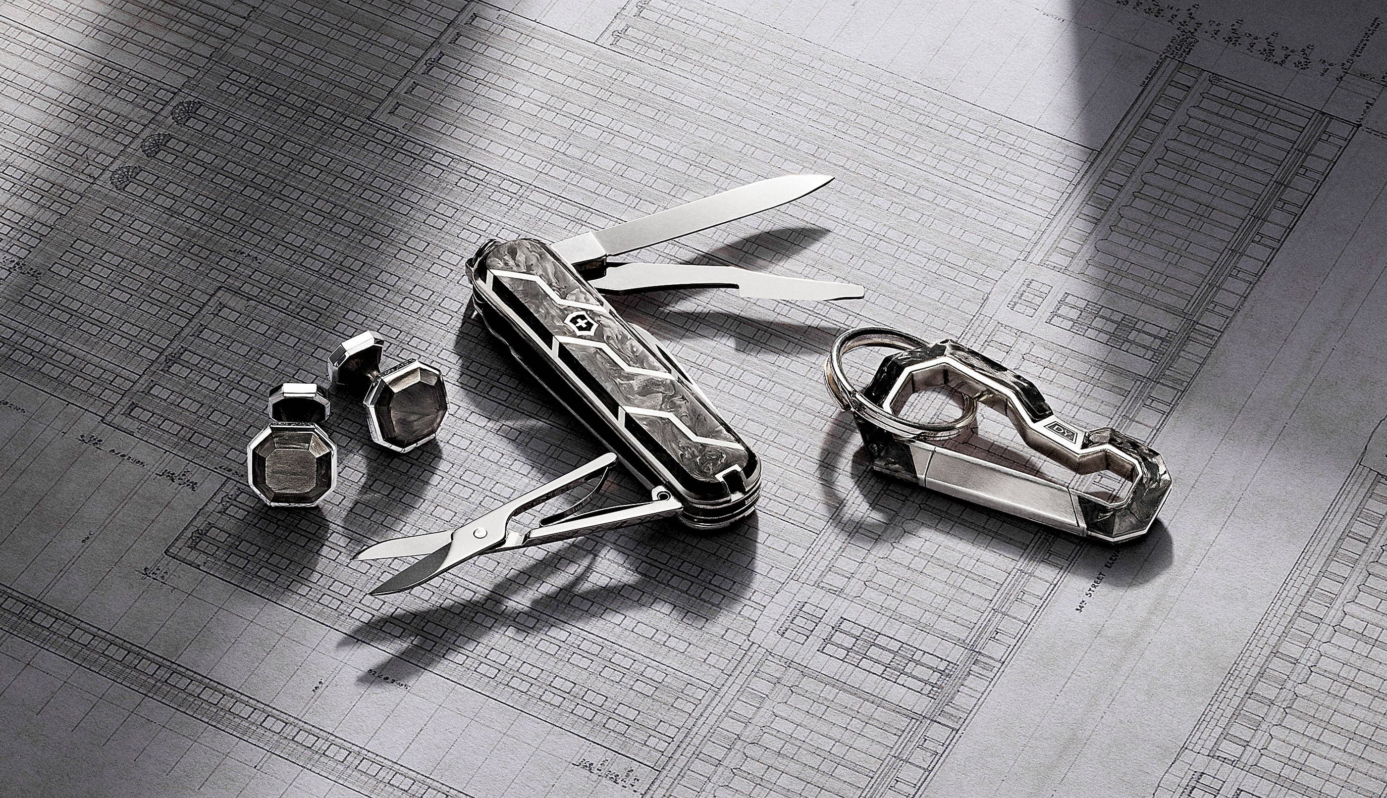 Shop these styles. Men's Forged Carbon cufflinks, open Swiss Army knife and keychain. The accessories are crafted from sterling silver with Forged Carbon.
