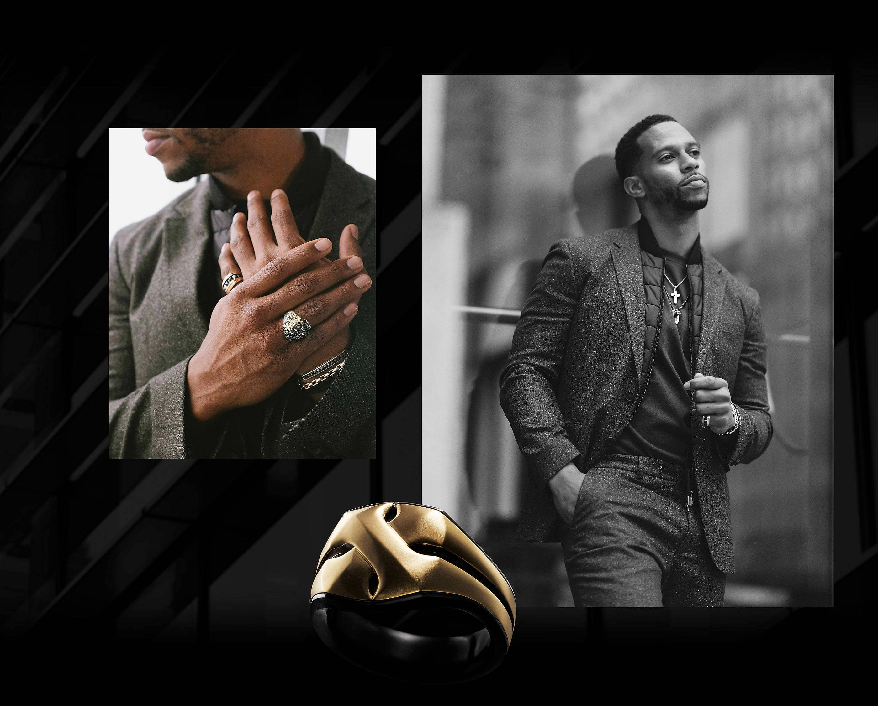 A David Yurman men's Armory signet ring in black titanium with an 18K yellow gold overlay. In both photos, Cruz wears a grey suit, a black vest underneath and a black t-shirt with two David Yurman men's necklaces strung with a cross, a Waves tag and a skull amulet along with three bracelets and a ring on one hand. The jewelry is crafted from sterling silver or 18K yellow gold with or without forged carbon, black onyx, black titanium, black leather, rubies or black diamonds.