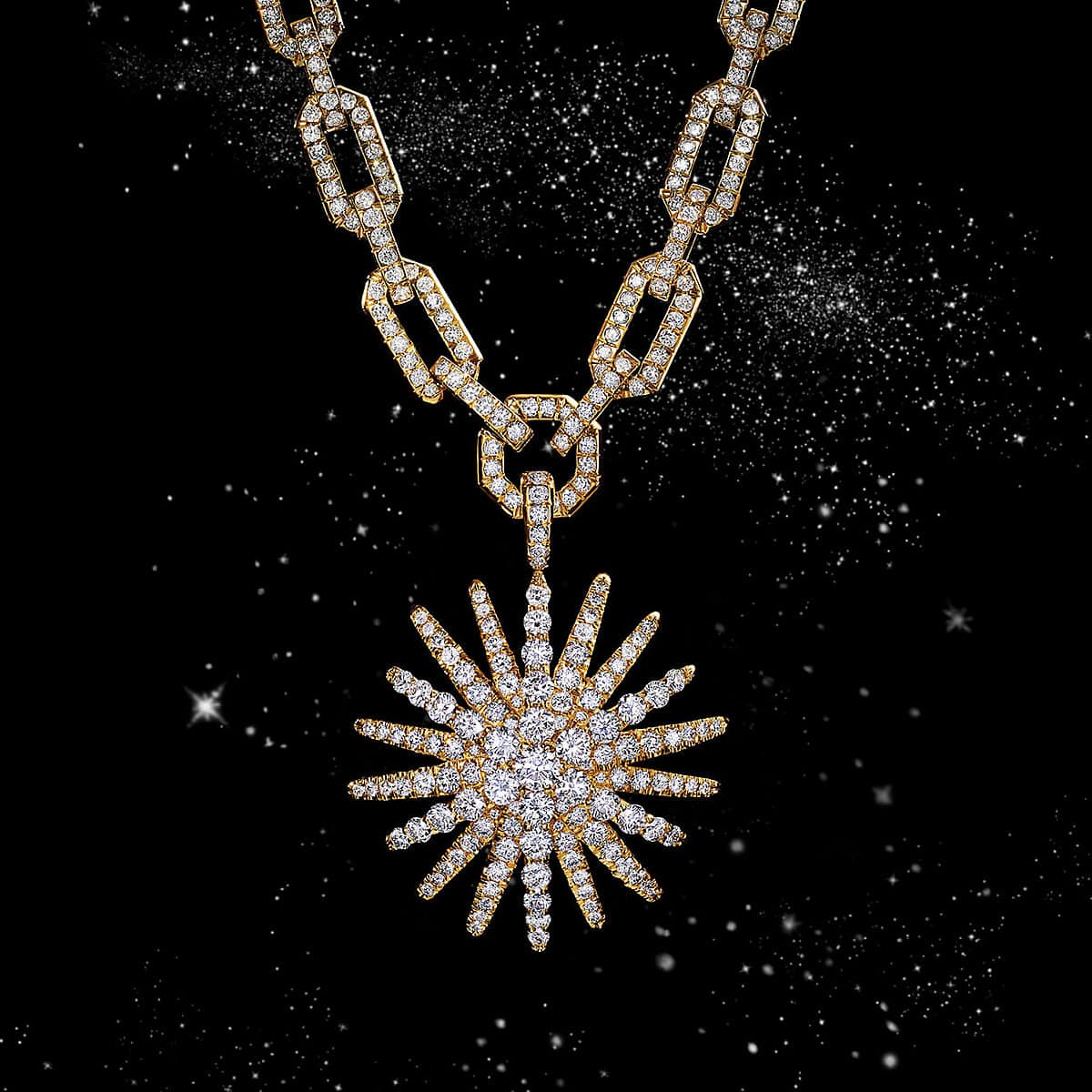 A color photo shows a David Yurman Starburst pendant hanging from a diamond-encrusted chain in front of a starry night sky. The women's jewelry is crafted from 18K yellow gold with pavé diamonds in the shape of a star.