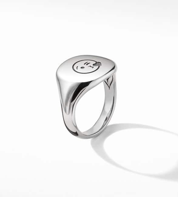 David Yurman Pinky Ring in sterling silver engraved with an emoji against a white background.