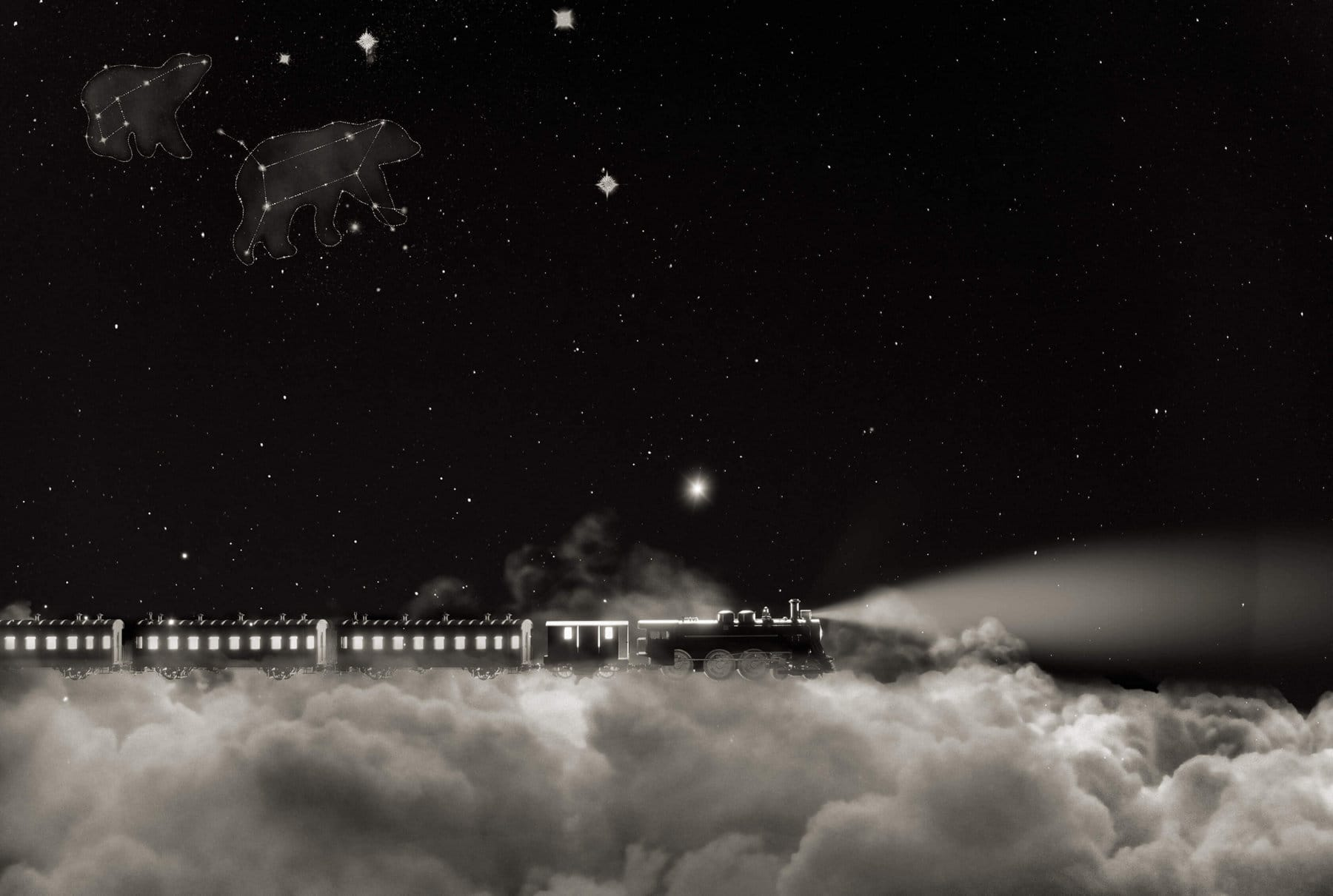 A quote from David Yurman in white on a starry night sky with bear-shaped constellations and a train traveling on a white cloud.