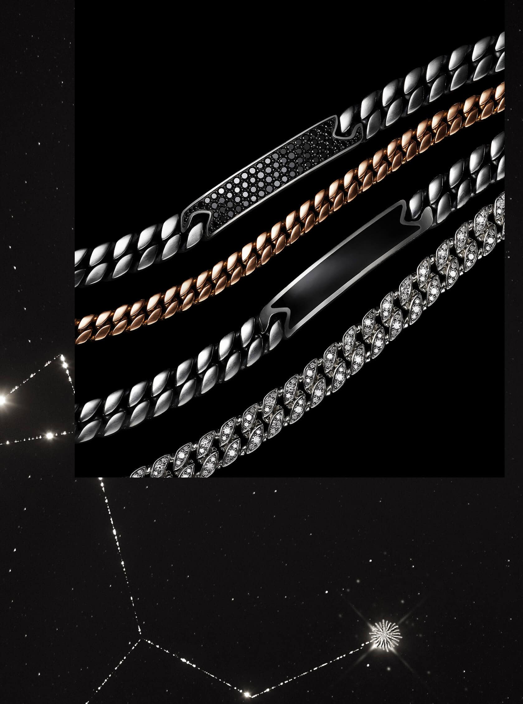 A color photo shows an overhead shot of four David Yurman men's chain and ID bracelets from the Pavé, Chain and Exotic Stone collections placed in a row on a black background. The jewelry is crafted from sterling silver with black diamonds or onyx, 18K rose gold or sterling silver encrusted with white diamonds.