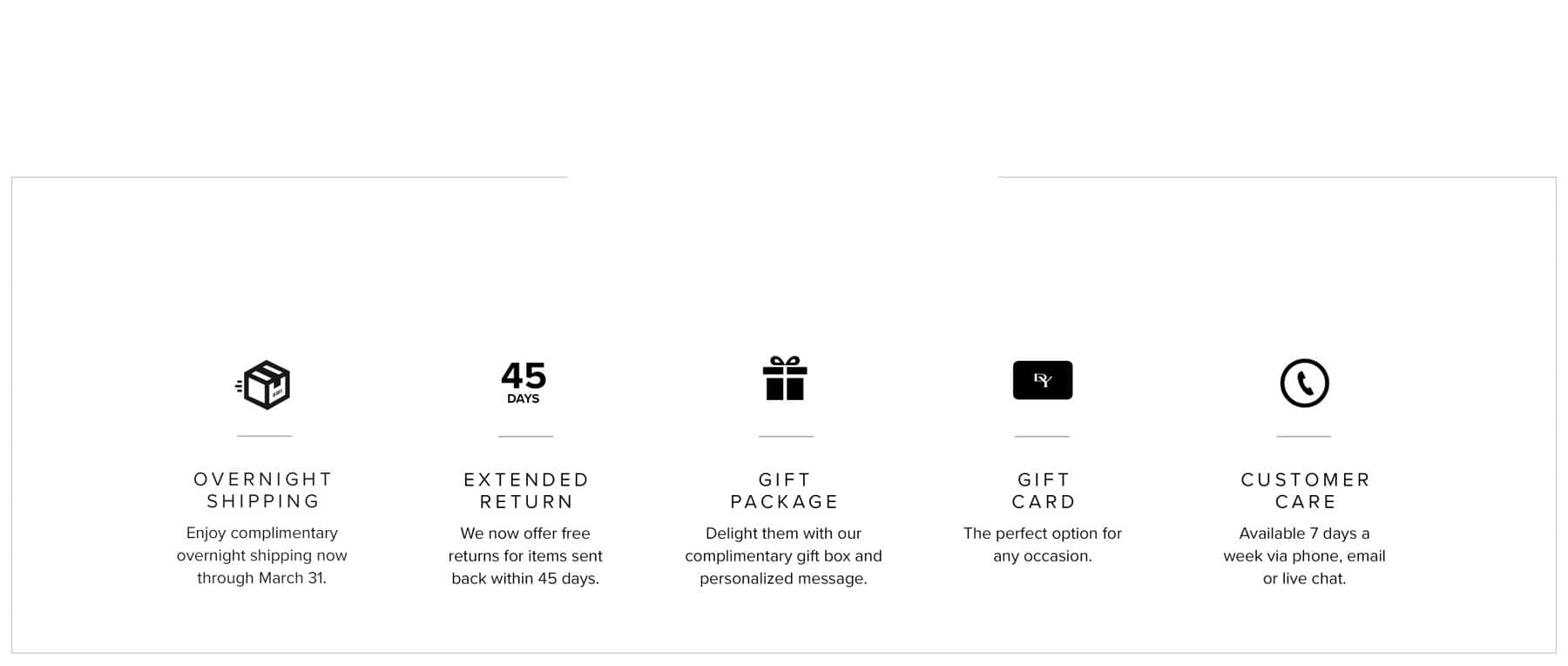 An image of all our customer services. An image of a shipping icon, 45 day return, a gift box icon, a gift card icon and a phone icon. icon,