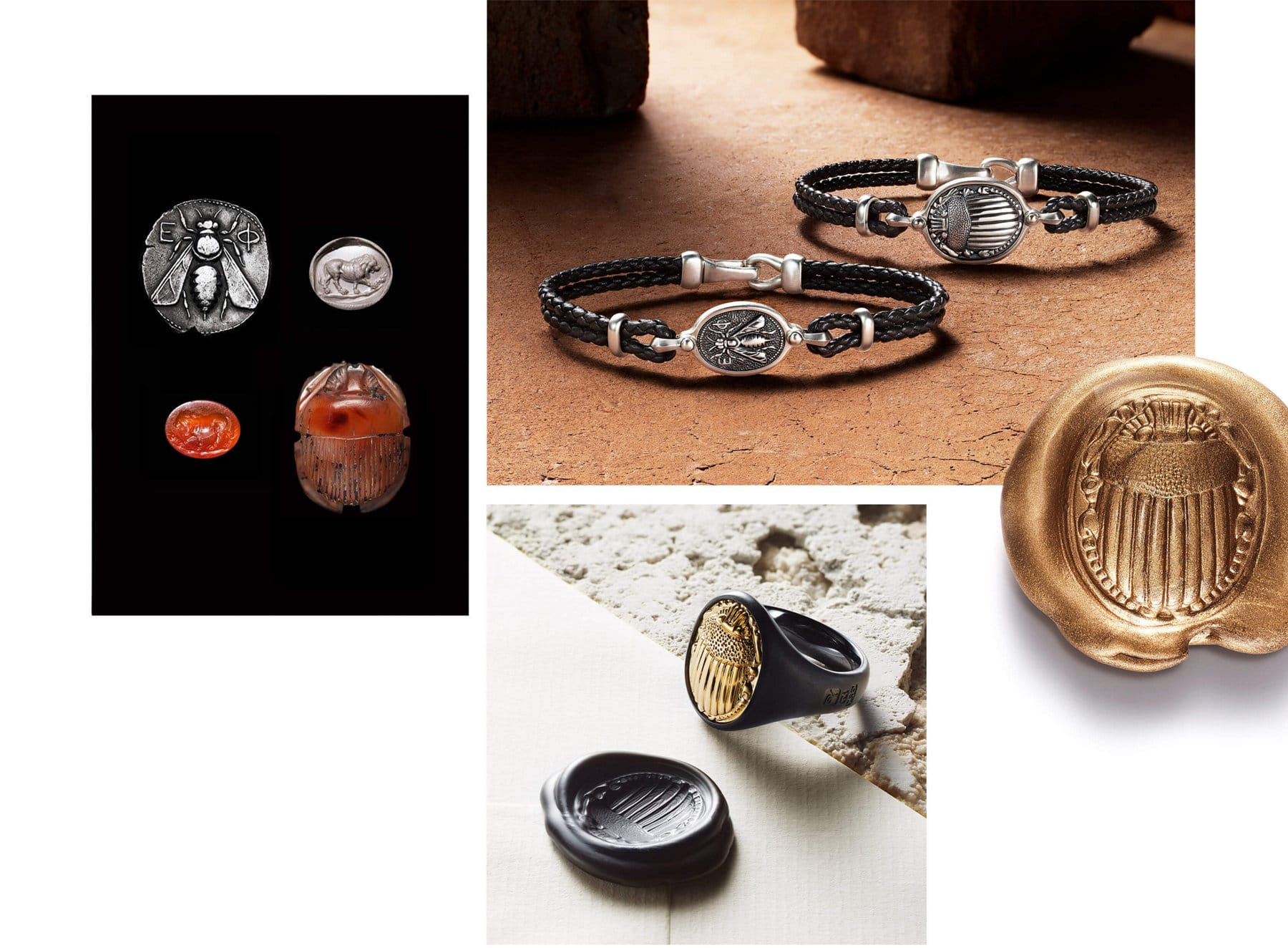 Three color photos are juxtaposed on a white background. On the left is a color photo showing two coins with a bee or lion and two carnelian gemstones carved with a lion or scarab. To the right are two color photos of David Yurman Petrvs designs shot on stone backgrounds. One features bracelets with black leather and a bee or scarab motif in sterling silver. The other features a signet ring in black titanium with an 18K yellow gold scarab next to a piece of black wax imprinted with the same scarab motif.