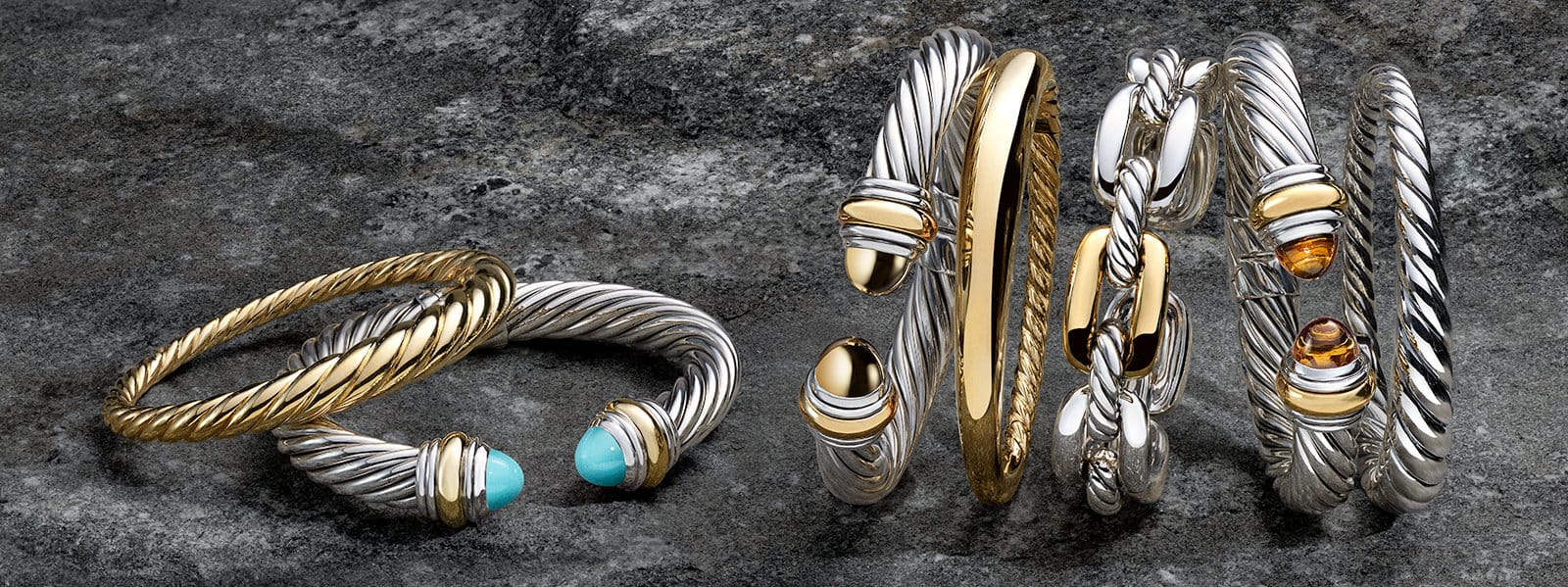 The Cable Collection®, Pure Form® and Wellesley Link™ bracelets in sterling silver with 14K or 18K yellow gold with tiger's eye or turquoise, and in 18K yellow gold or sterling silver on a stone.