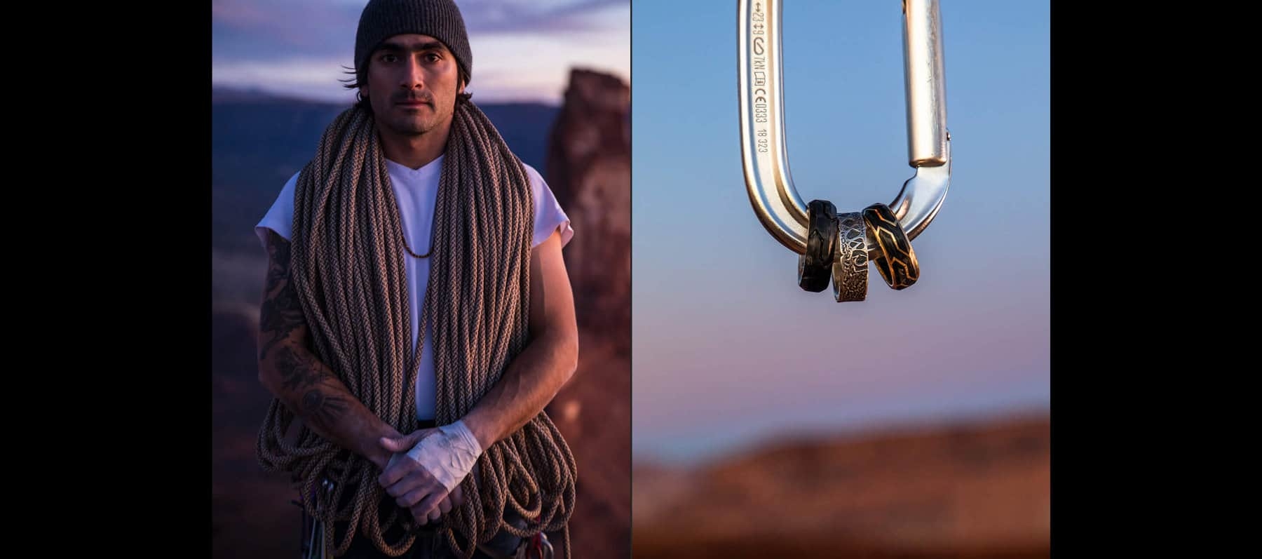 A carousel shows eight color images featuring director/photographer Jimmy Chin and pro climber Sam Elias wearing David Yurman men's jewelry in Utah's Moab desert. Several of the images show them holding rope, standing or climbing canyons. Two images in the slideshow feature David Yurman men's jewelry shot in the desert landscape.