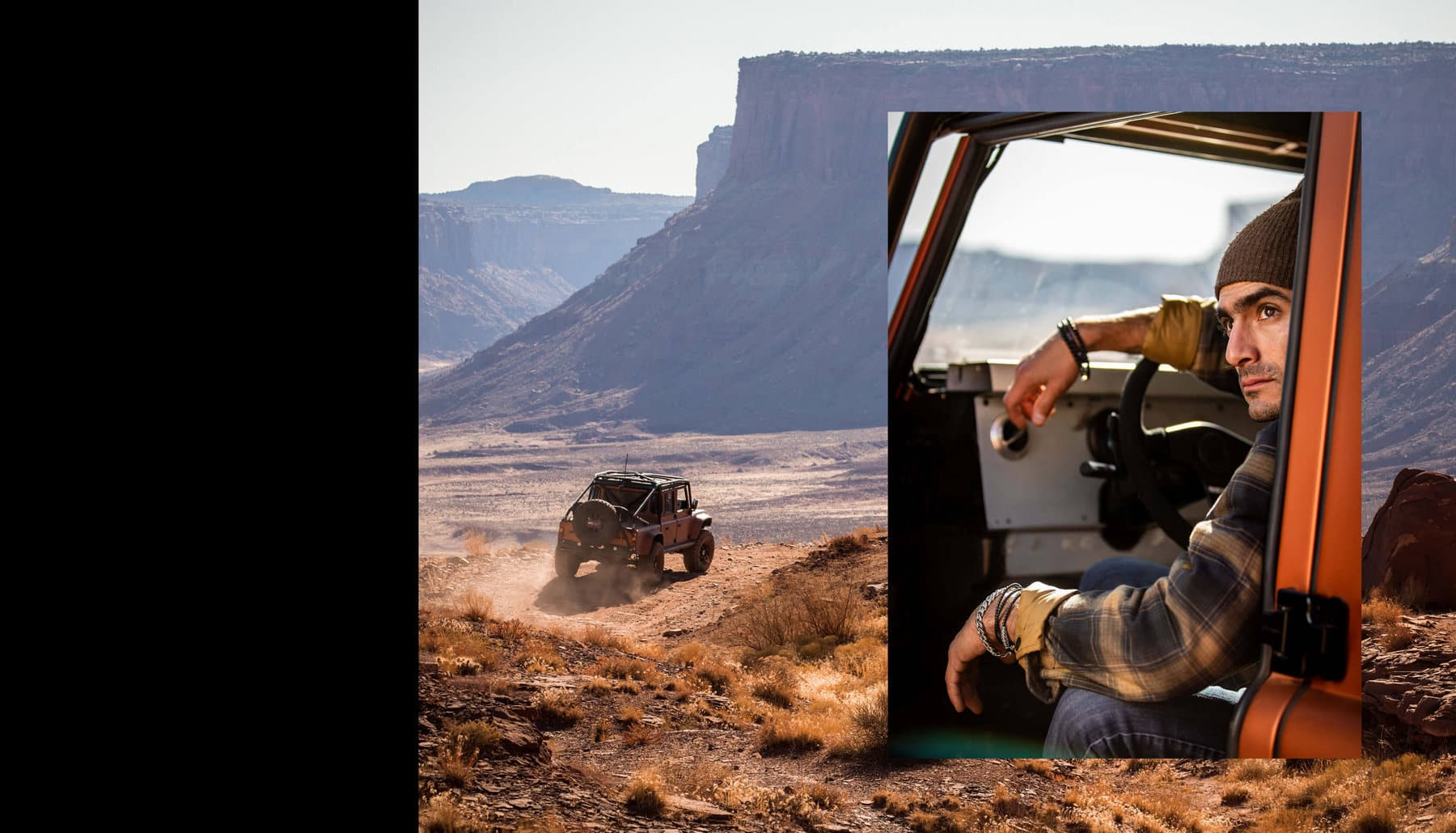A photo collage juxtaposes a quote from Jimmy Chin with two color photos. One image shows a Jeep driving towards a canyon by Moab, Utah. Another shows climber Sam Elias sitting in the driver's seat of a Jeep wearing David Yurman men's jewelry.