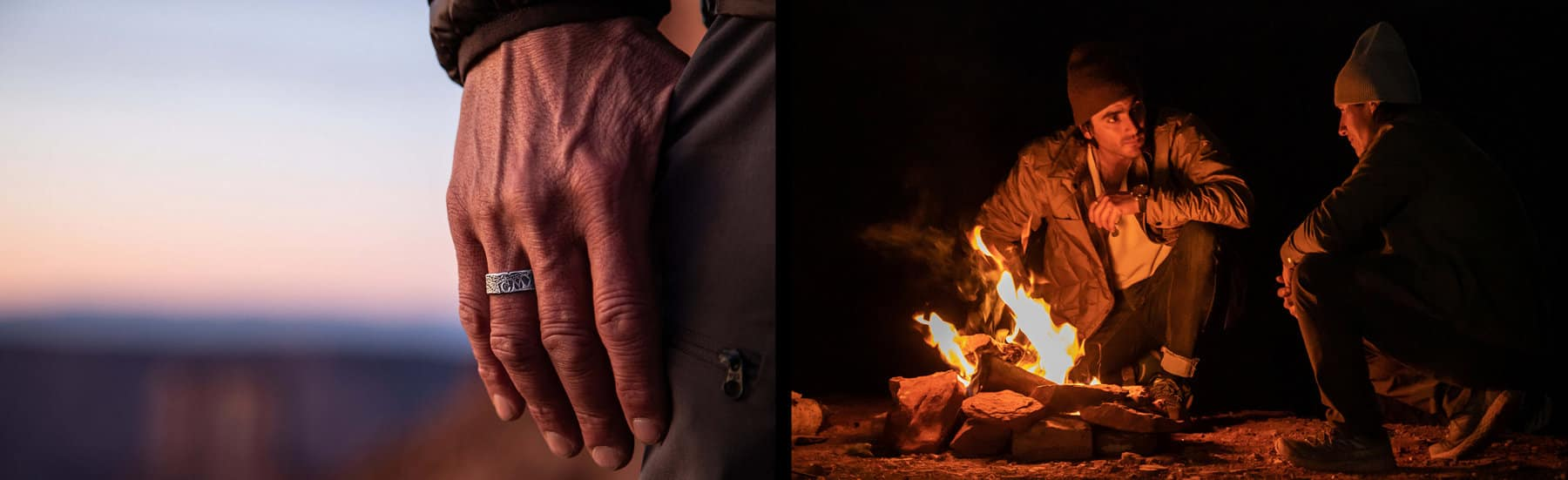 Two color photos are placed side by side. On the left is a close-up image of a man's hand with his thumb in his pocket wearing a David Yurman Shipwreck band. On the right is an image of Sam Elias and Jimmy Chin sitting by a campfire outdoors.