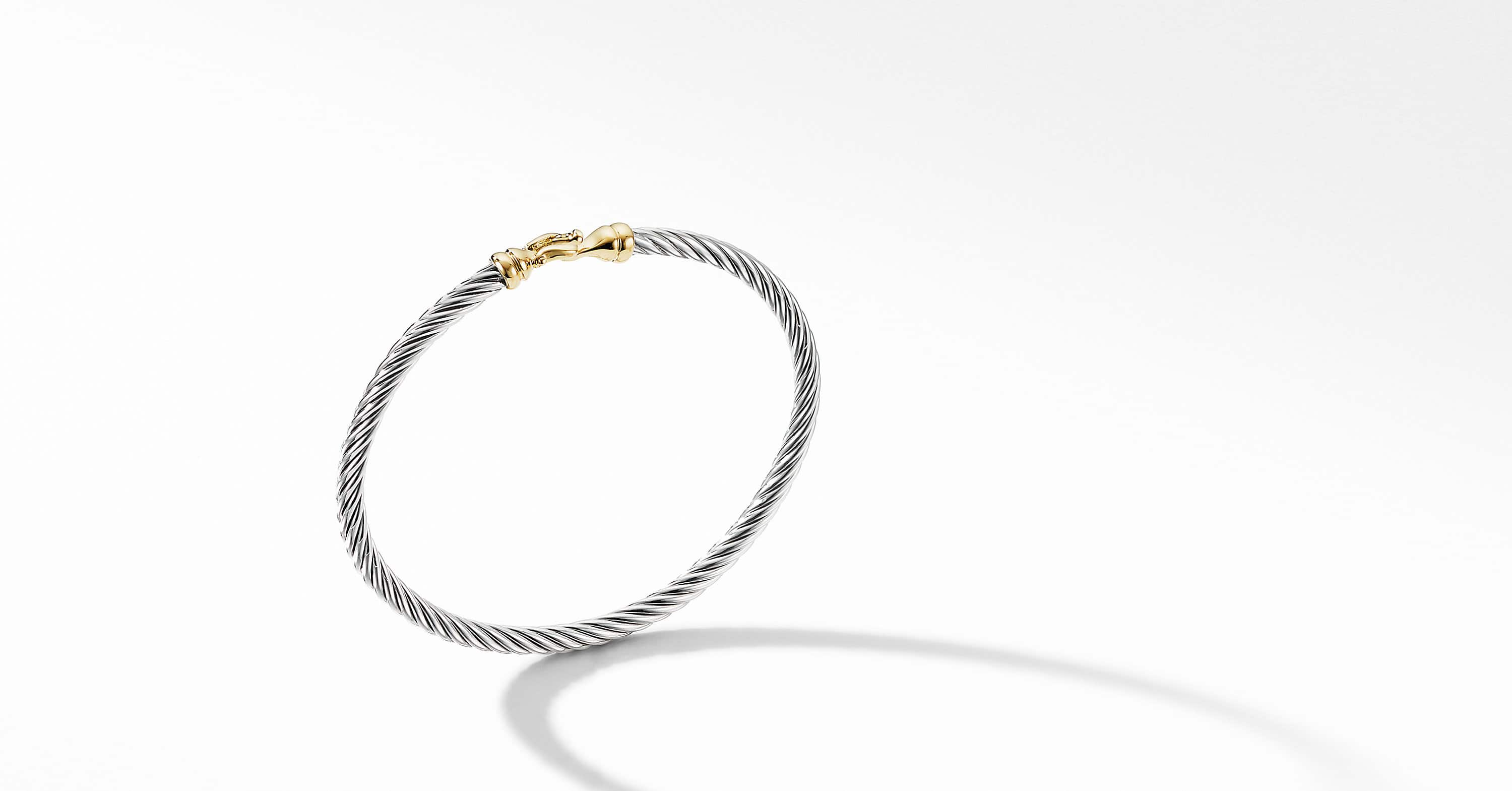 Cable Kids Buckle Bracelet with 14K Yellow Gold, 3mm