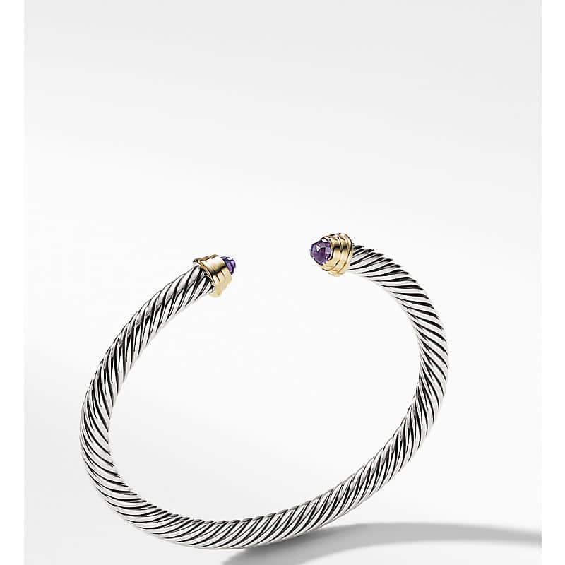 Cable Kids Birthstone Bracelet with 14K Gold, 4mm