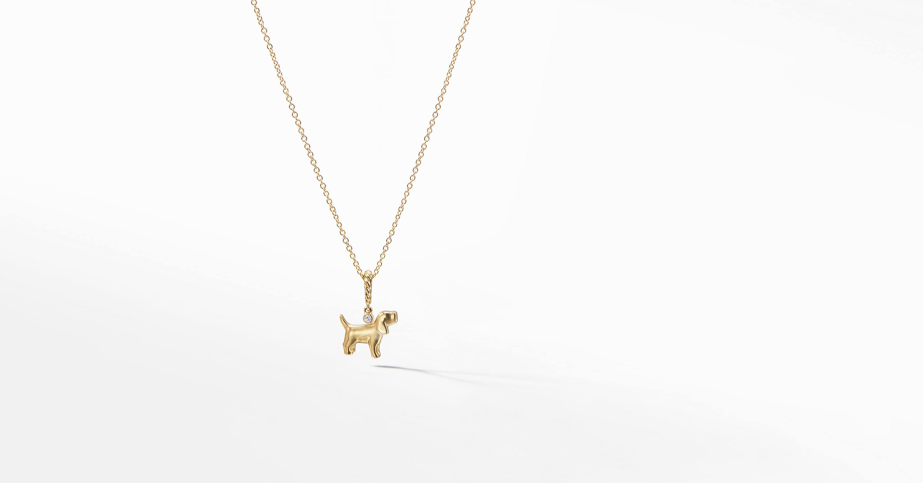 Cable Collectibles Kids Dog Charm Necklace in 18K Gold with Diamonds
