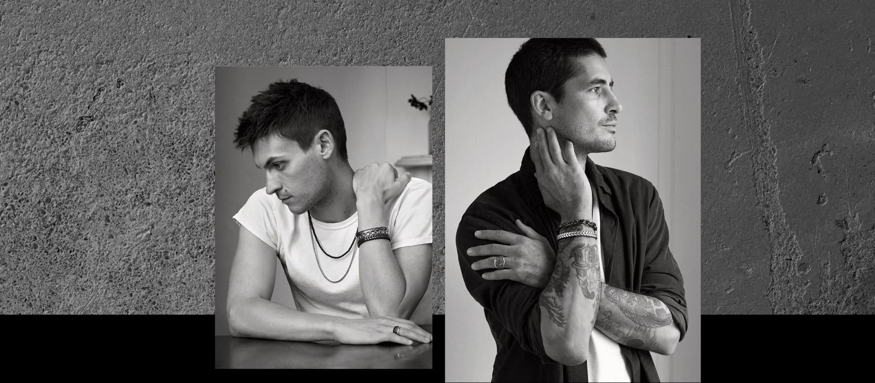 Two black-and-white image of Miles Garber and Dylan Marcus Corbett are placed in a row. Both are wearing David Yurman men's jewelry.