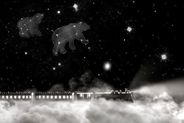 A color photo shows a train traveling on a white cloud under a starry night sky with constellations of animals.