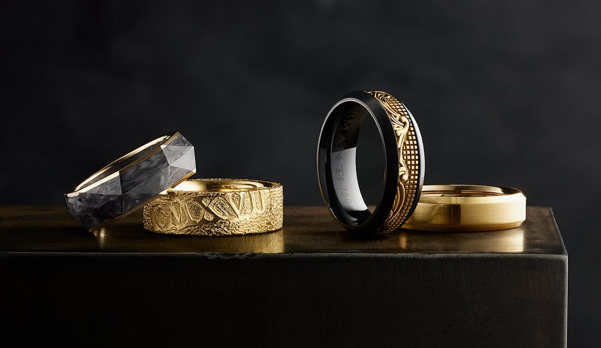 6131882c900dba Four David Yurman men's Faceted, Shipwreck, Waves and Beveled bands, in 18K  yellow