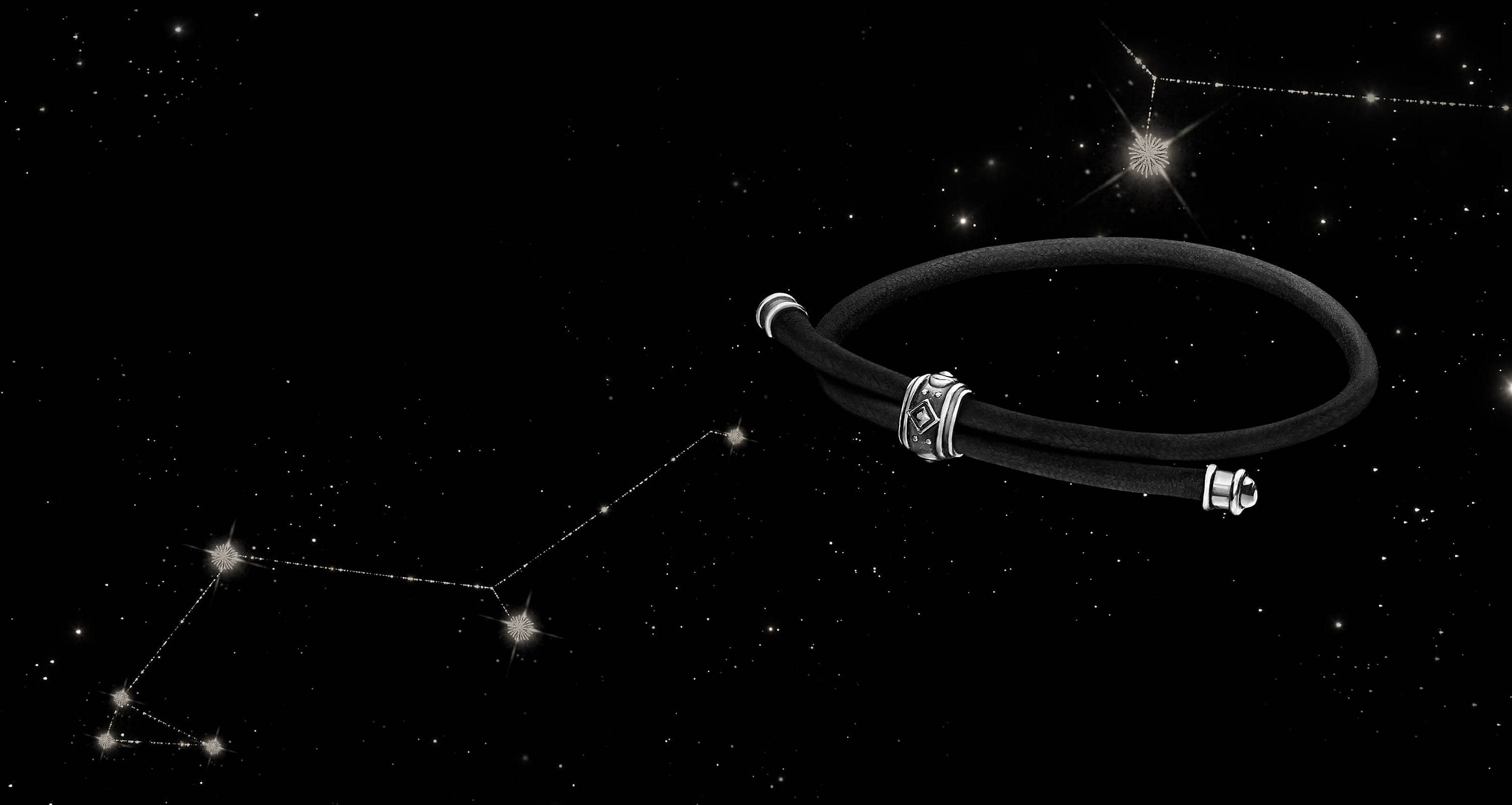 A color photo shows a Renaissance corded bracelet floating on a white cloud in a starry night sky.