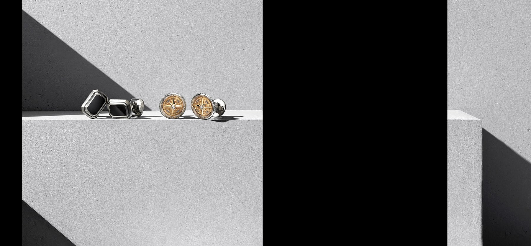 A color photograph shows two pairs of David Yurman cufflinks from the Deco and Maritime collections atop a grey background. Each pair is crafted from sterling silver and onyx or sterling silver and 18K yellow gold with diamonds.