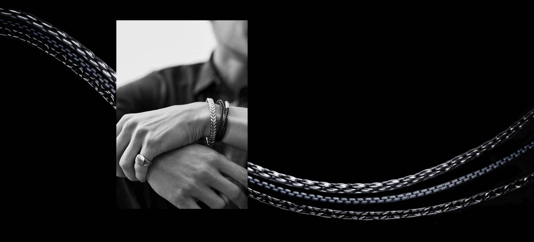 A pull quote by model Miles Garber is placed to the right of a black-and-white photo of him wearing a black shirt and jacket with David Yurman bracelets and a pinky ring. A color image of a David Yurman chains is juxtaposed behind the photo of Miles.