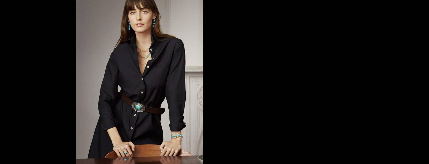 A color photo of model Juliette Labelle shows her wearing a black shirtdress and David Yurman jewelry.