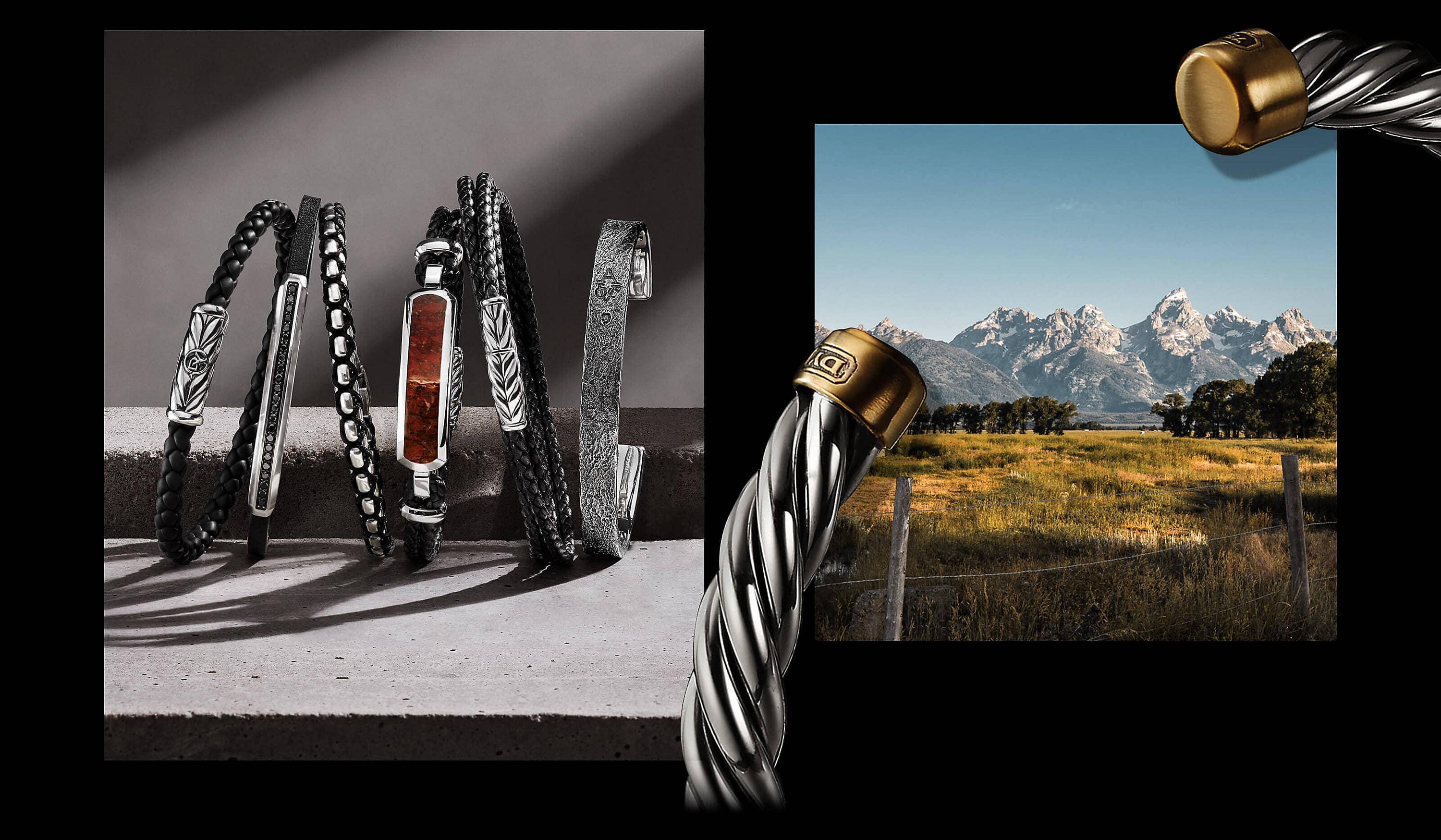 Two color photos are juxtaposed on a black background with white text. On the left is an image showing six David Yurman men's bracelets leaning against one another on a dark grey stone shelf with diagonal shadows. The jewelry is crafted from in sterling silver with or without black leather, nylon, diamonds and tiger's eye. On the right is a photo of a mountain landscape with a green field and trees. Draped in the corners of the right photo is a David Yurman men's Cable cuff bracelet in sterling silver with 18K gold end caps.