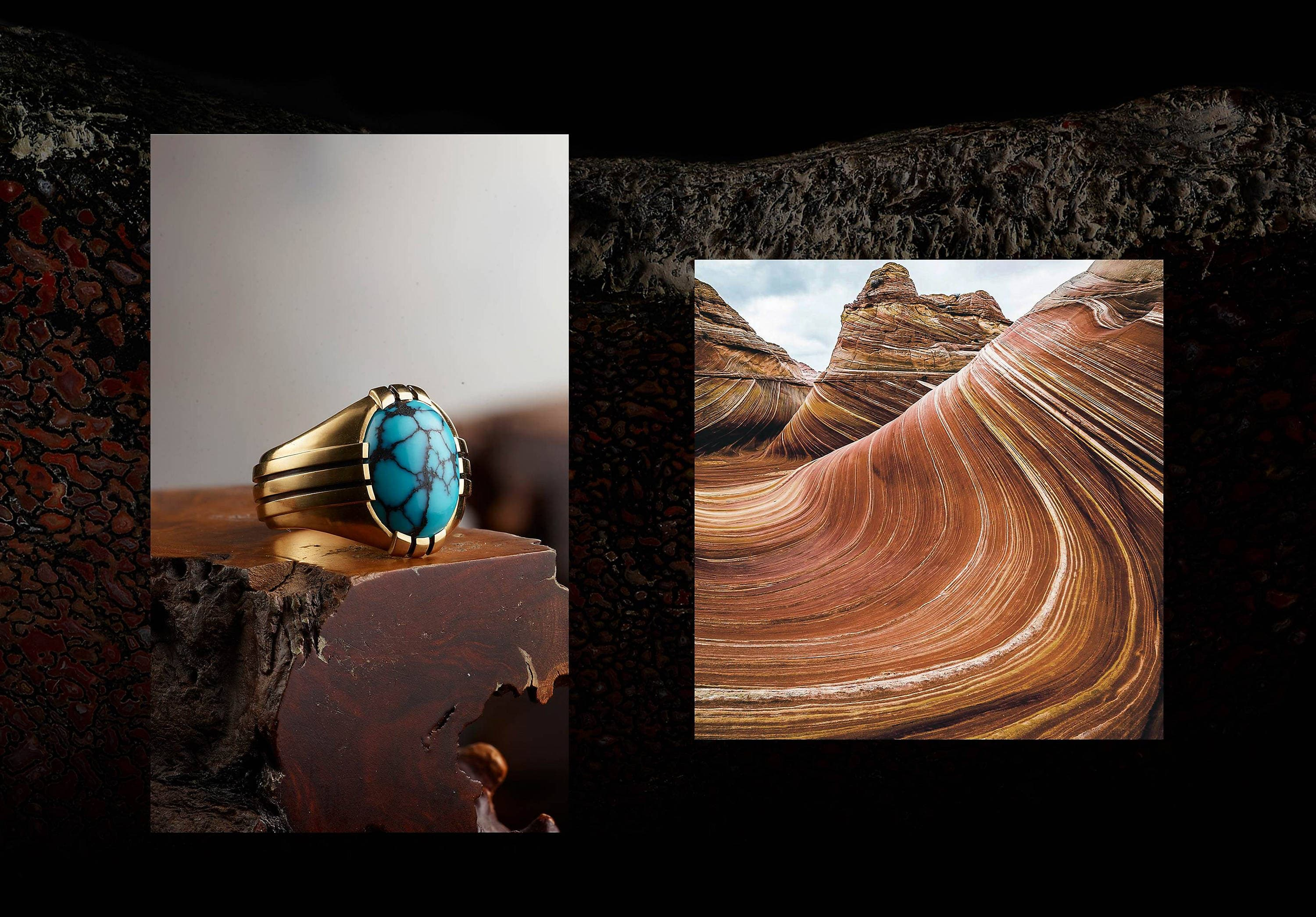 Two color photos are juxtaposed on a dark photo of a piece of stone on a black background. On the left is an image showing a David Yurman Southwest men's signet ring in 18K gold with turquoise placed atop a brown wood block. On the right is a photo of a mountain landscape with multi-colored swirls of sandstone.