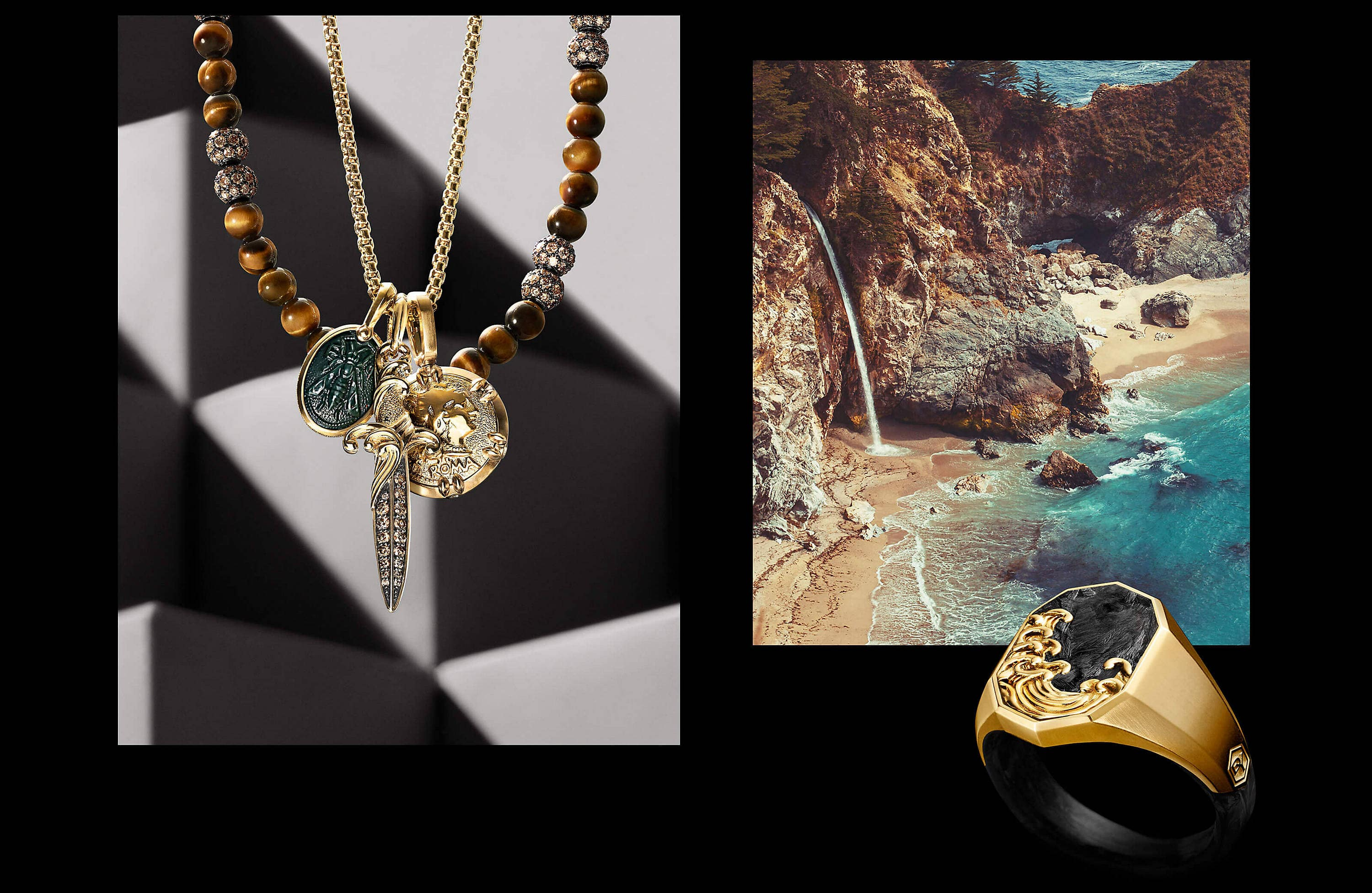 Two color photos are juxtaposed on a black background with white text. On the left is an image showing a David Yurman men's box chain necklace with three amulets hanging in front of a dark grey stone background with angular shadows. The jewelry is crafted from 18K gold with or without bloodstone. Behind the jewelry is a David Yurman men's Spiritual Beads necklace in tiger's eye with cognac diamonds. On the right is a photo of a rugged cliff next to the ocean with water streaming from one of the cliffs.