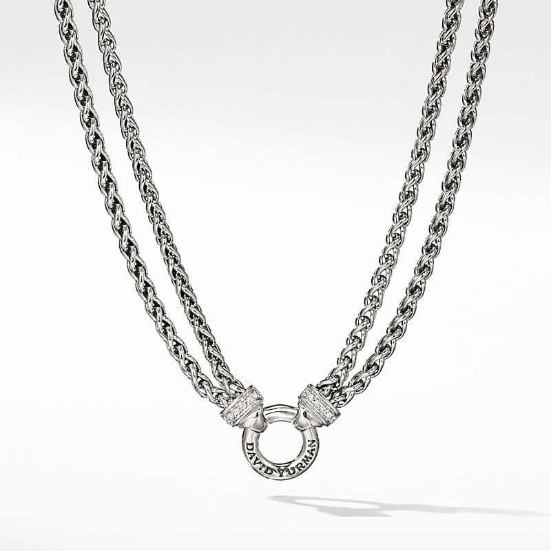 Double Wheat Chain Necklace with Diamonds