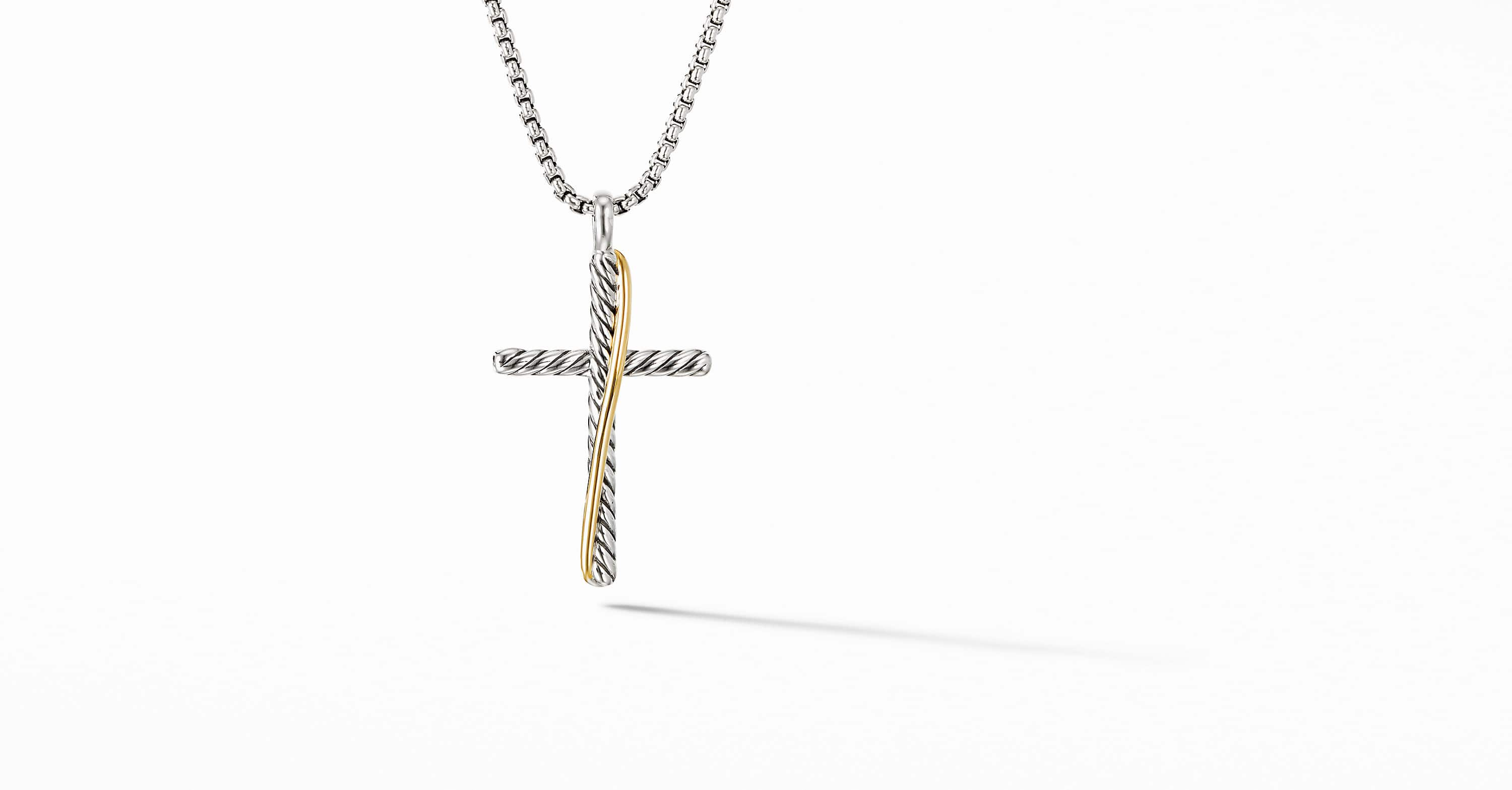 The Crossover Collection Cross Necklace with 18K Yellow Gold