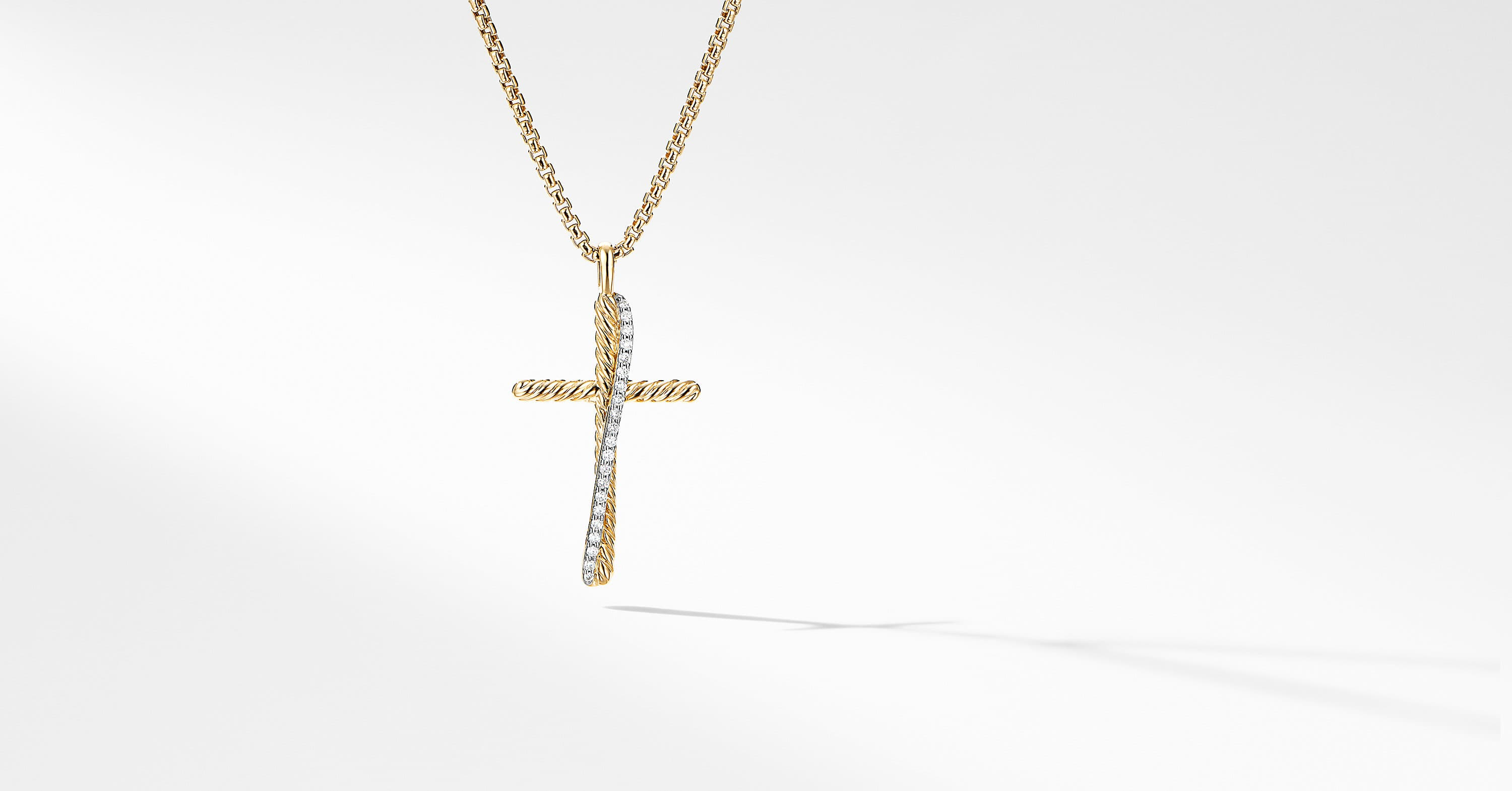 Crossover Cross Necklace in 18K Yellow Gold with Diamonds