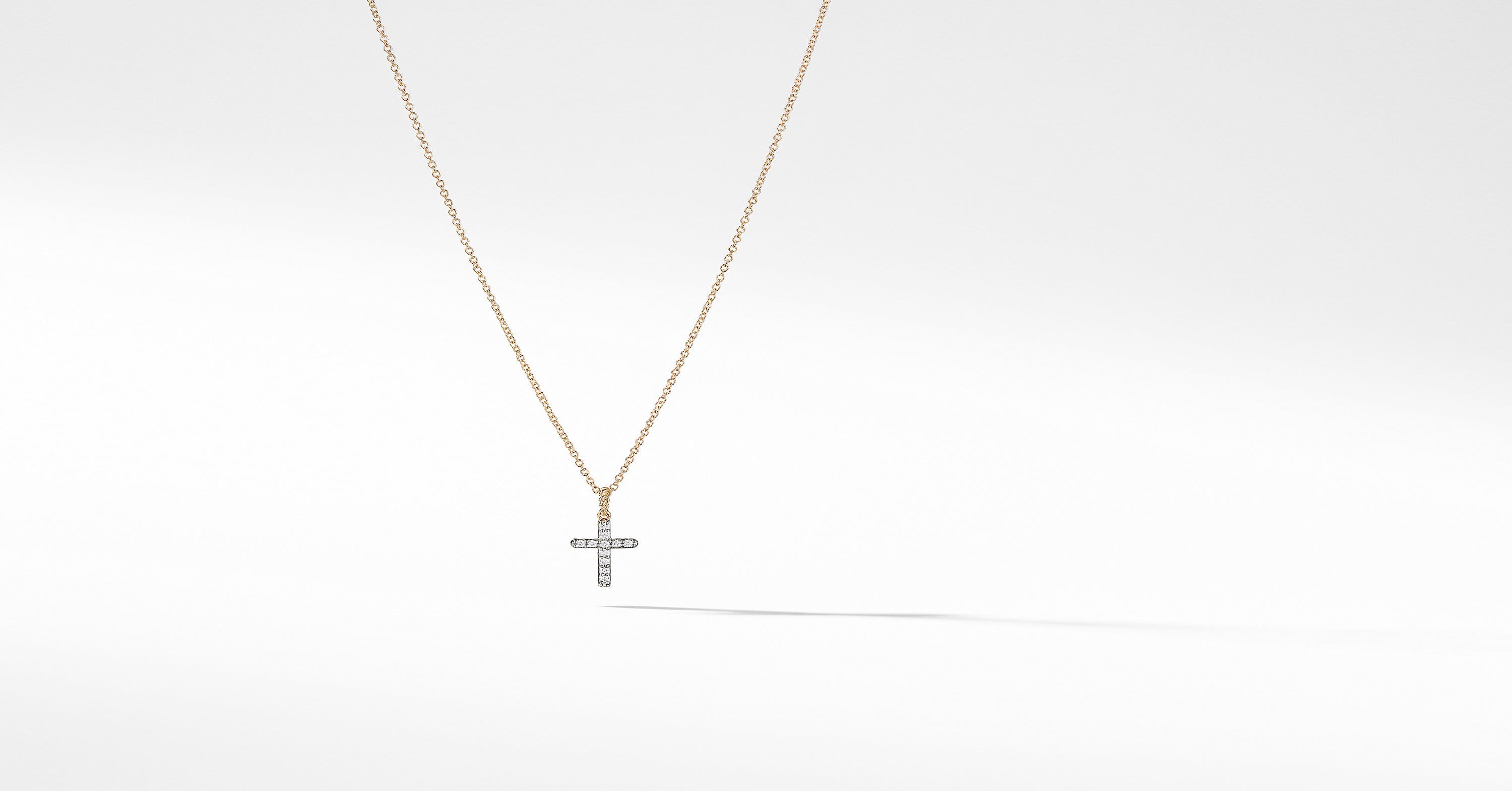 Cable Collectibles Cross Necklace with Diamonds in 18K Gold
