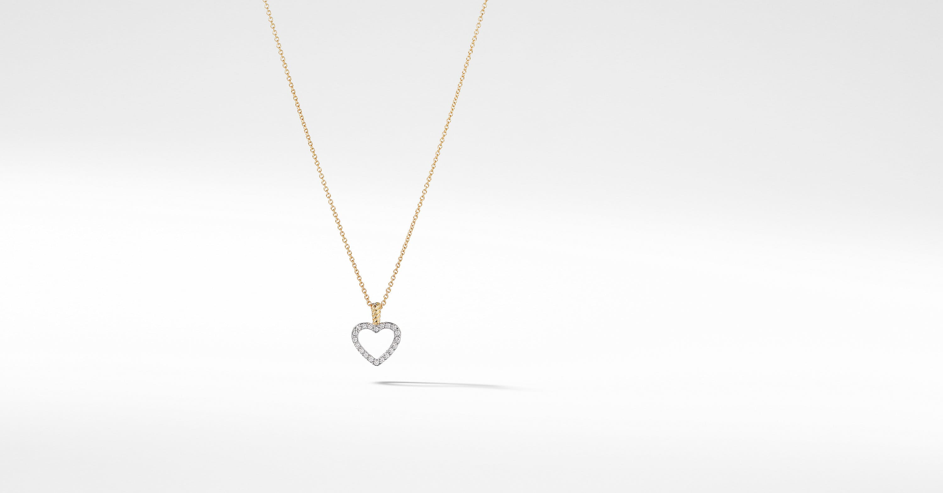 Cable Collectibles Heart Pendant Necklace with Diamonds in 18K Gold