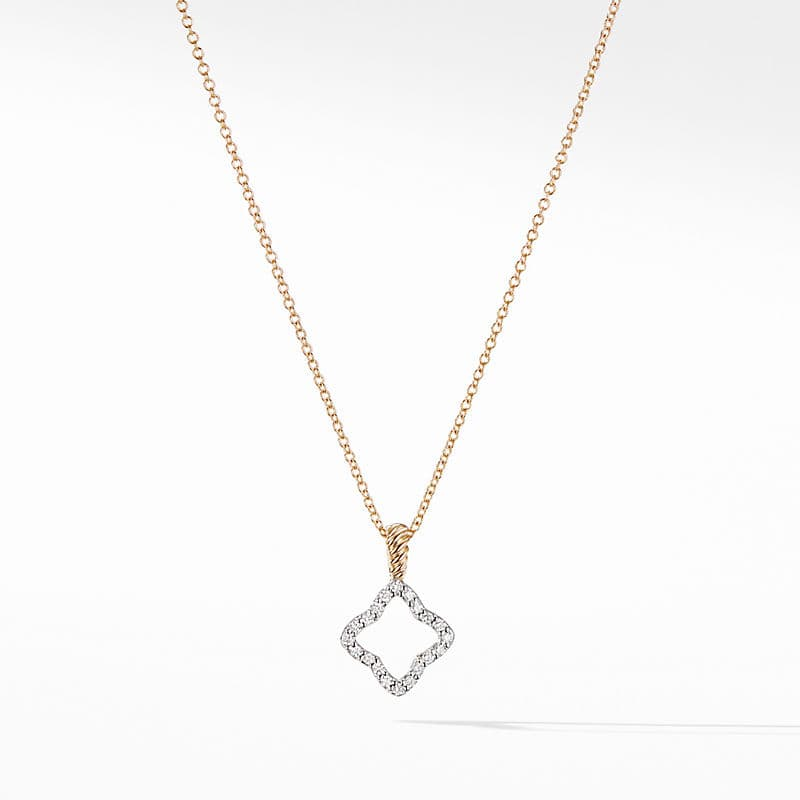 Cable Collectibles Quatrefoil Pendant Necklace in 18K Yellow Gold with Diamonds