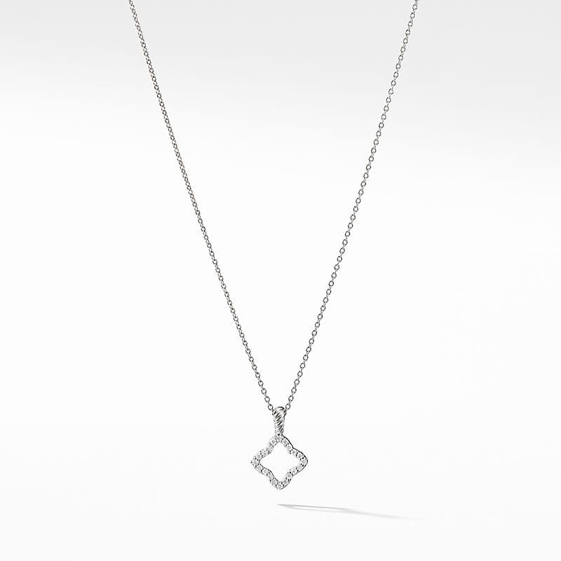 Cable Collectibles Quatrefoil Pendant Necklace with Diamonds in 18K White Gold