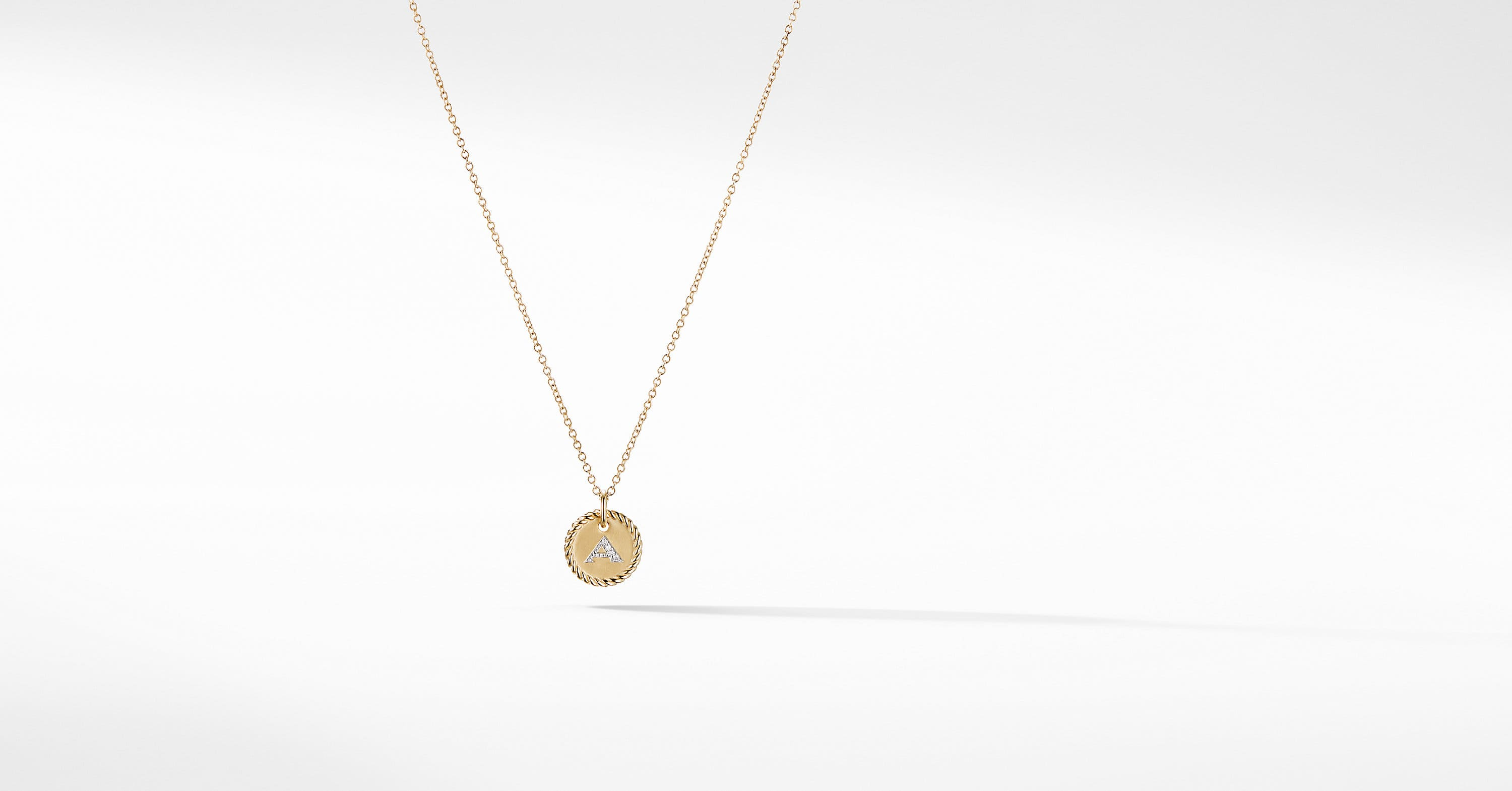 Initial Charm Necklace in 18K Yellow Gold with Diamonds