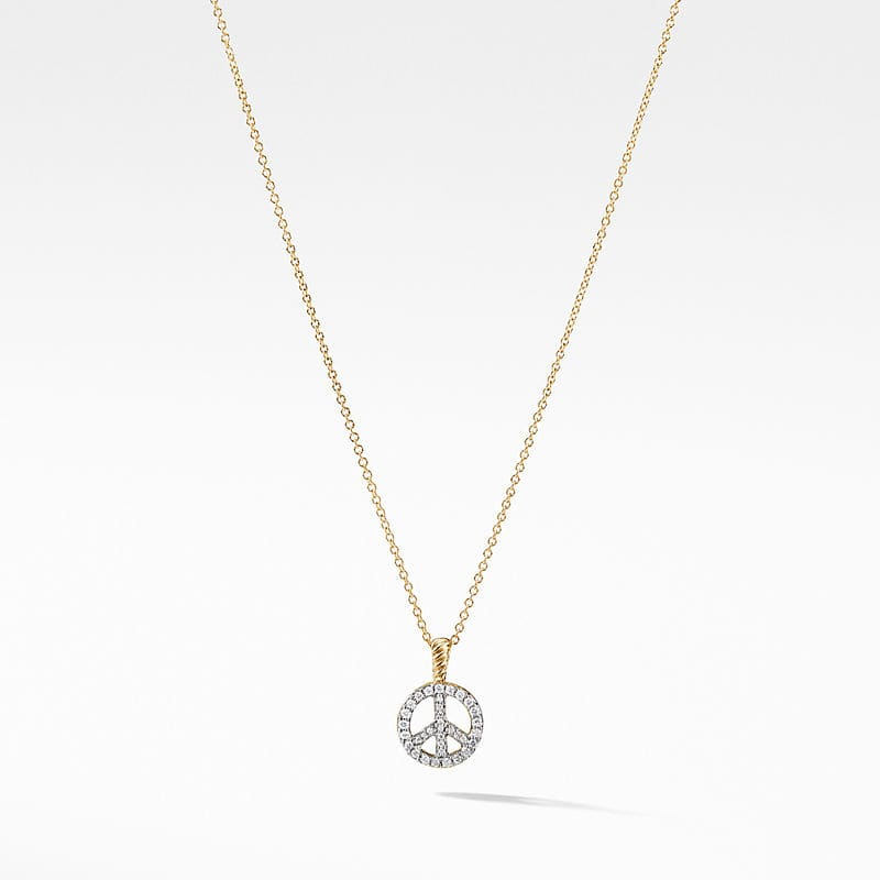 Cable Collectibles Peace Sign Necklace in 18K Yellow Gold with Diamonds
