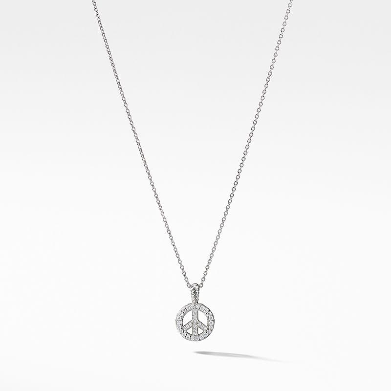 Cable Collectibles Peace Sign Necklace in 18K White Gold with Diamonds