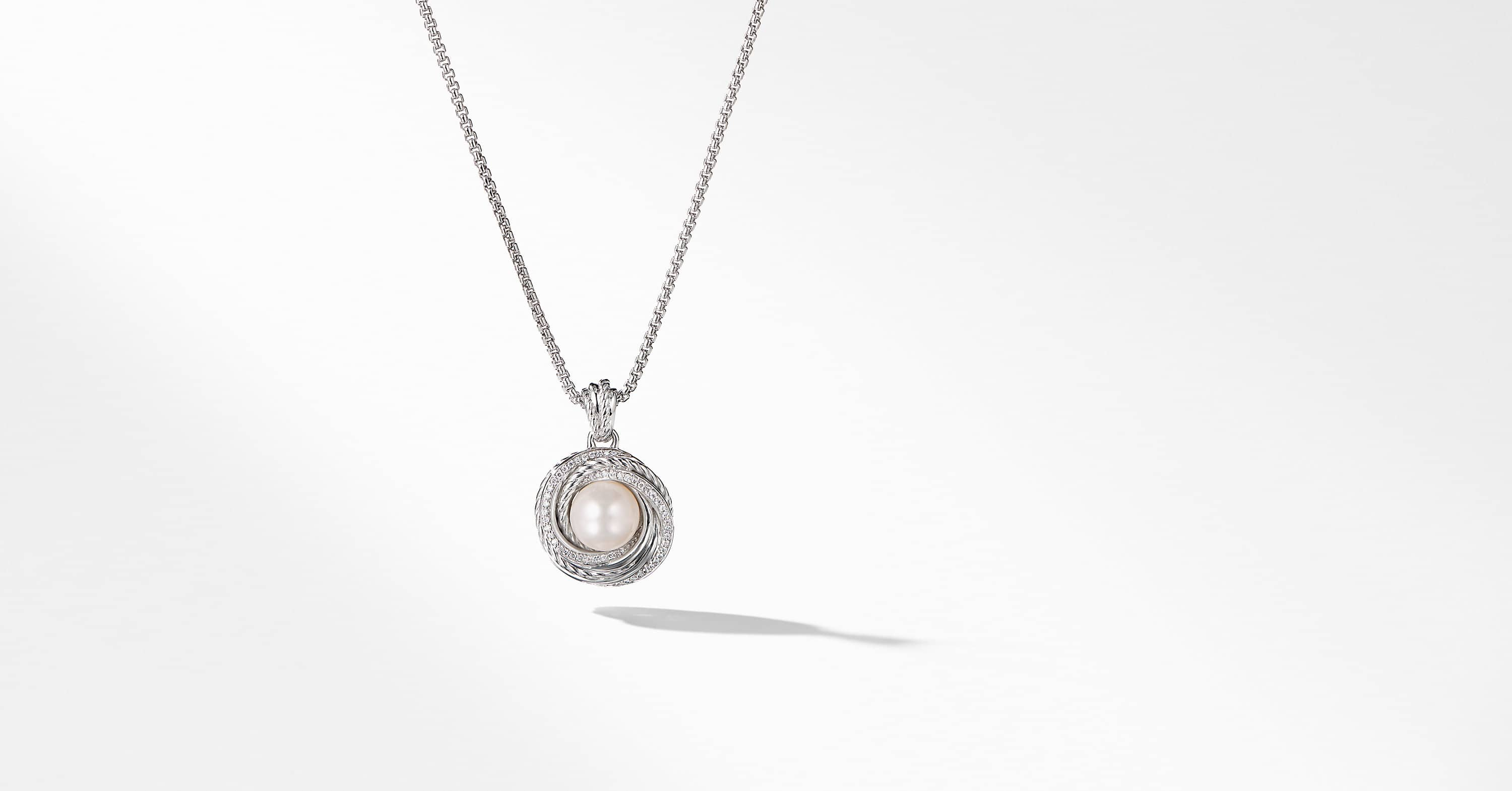 Crossover Pearl Pendant Necklace with Diamonds