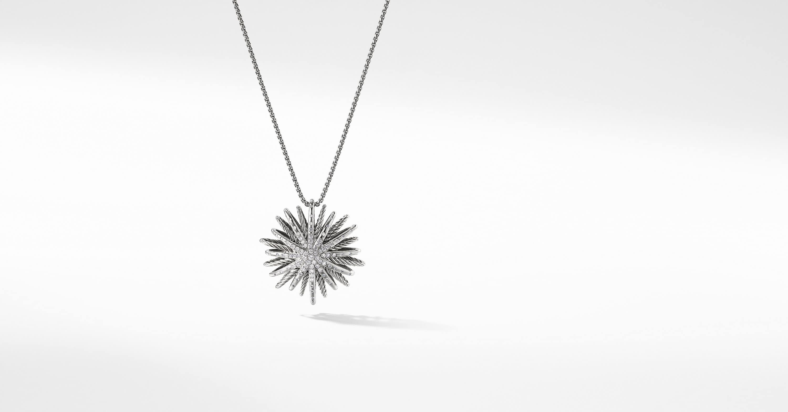 Starburst Large Pendant Necklace with Diamonds, 37mm