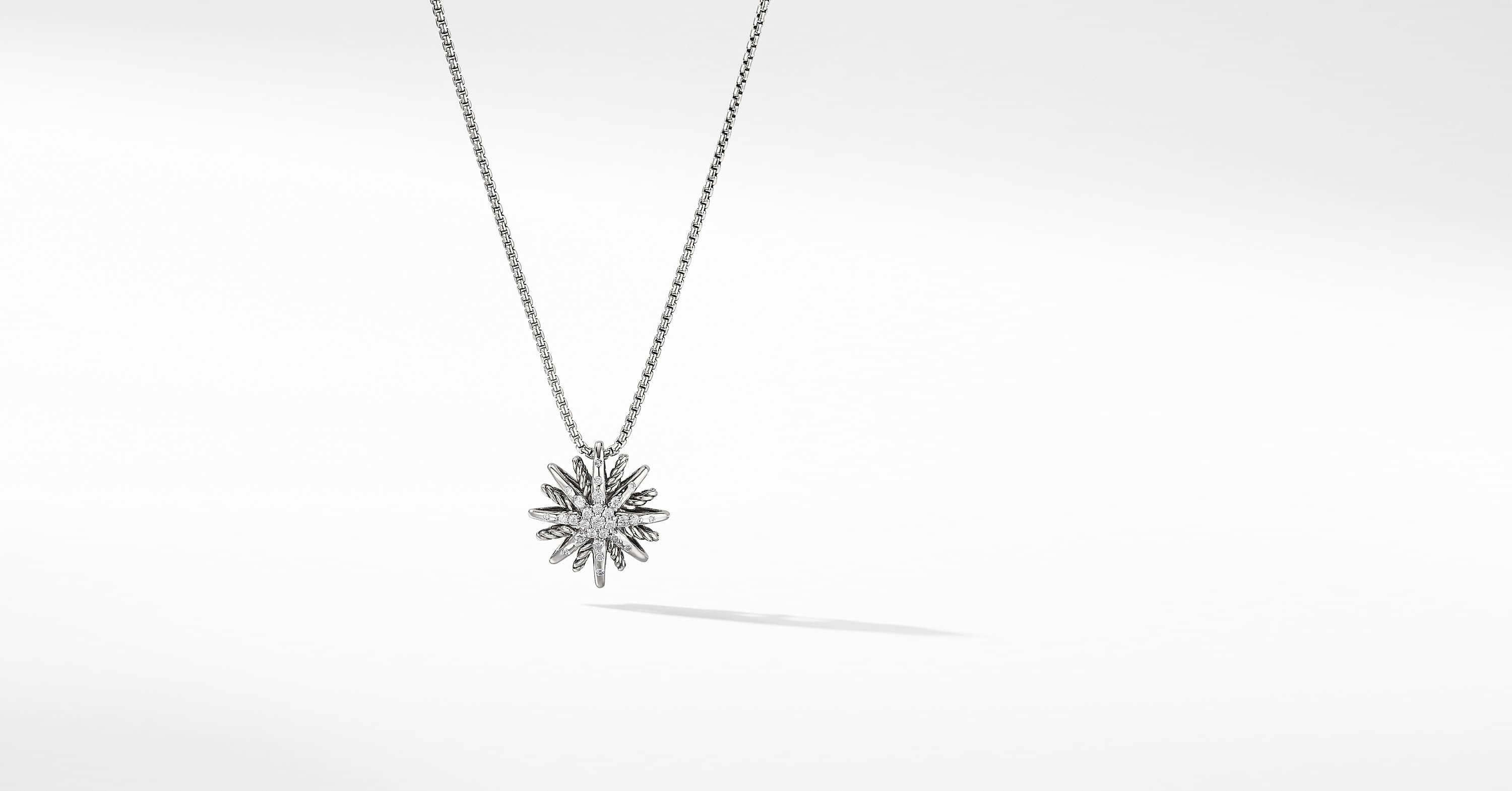 Starburst Small Pendant Necklace with Diamonds, 16mm