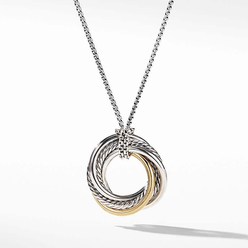 The Crossover Collection Small Pendant Necklace with 14K Yellow Gold