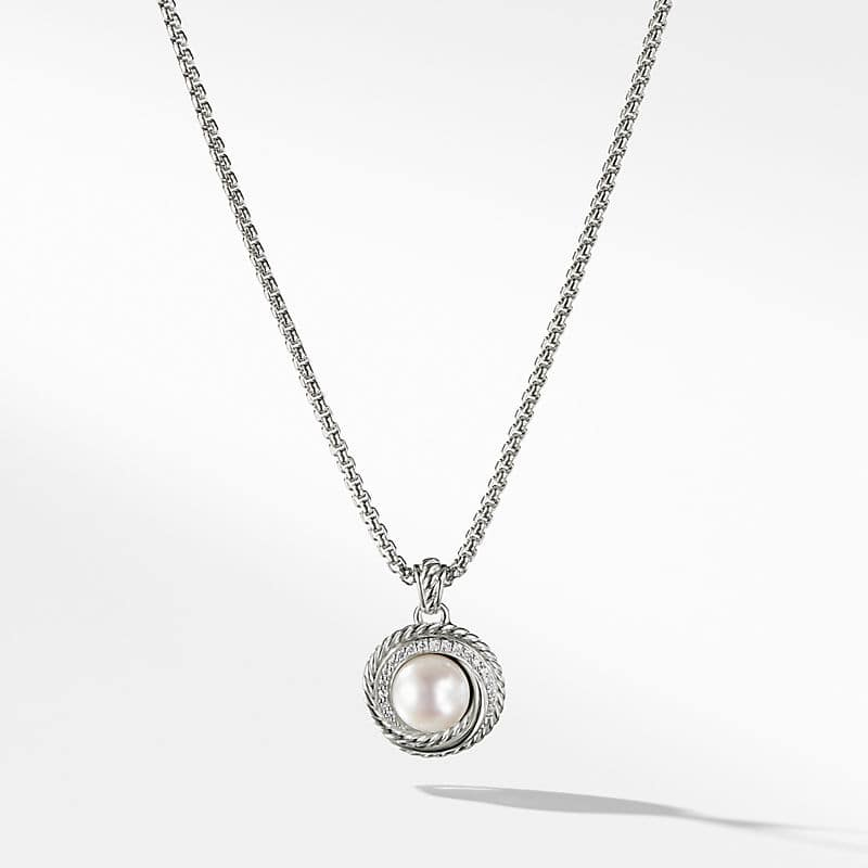 The Crossover Collection Pearl Pendant Necklace with Diamonds