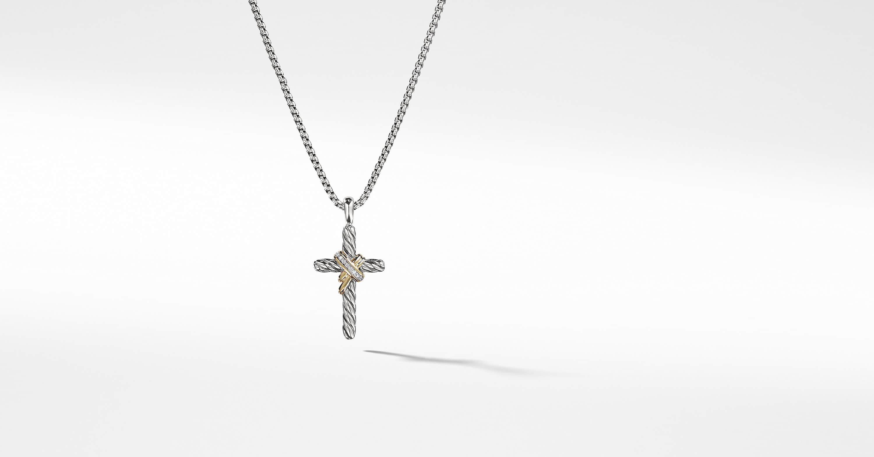 X Cross Necklace with Diamonds and 14K Gold