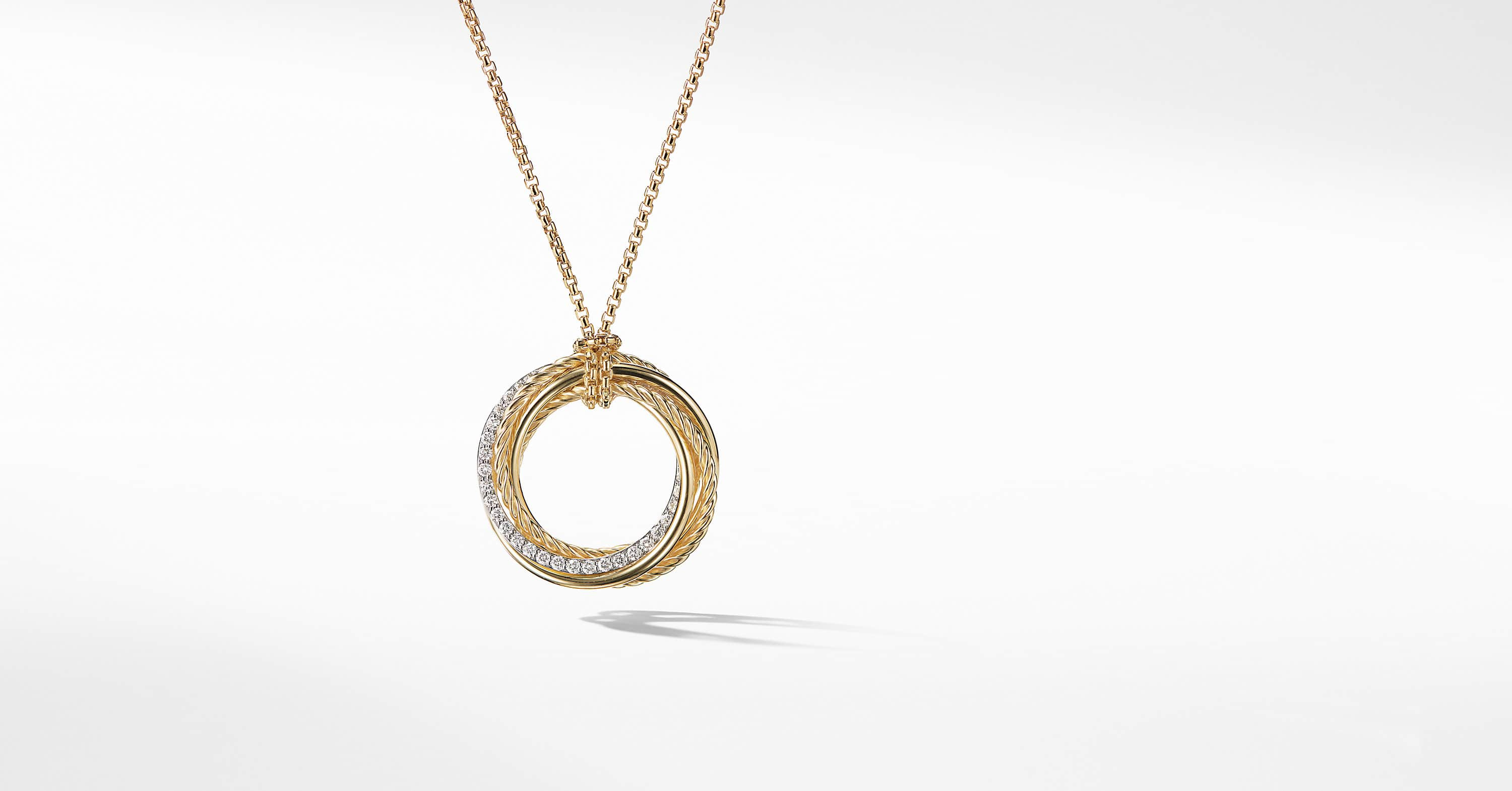 The Crossover Collection Pendant Necklace in 18K Yellow Gold with Diamonds
