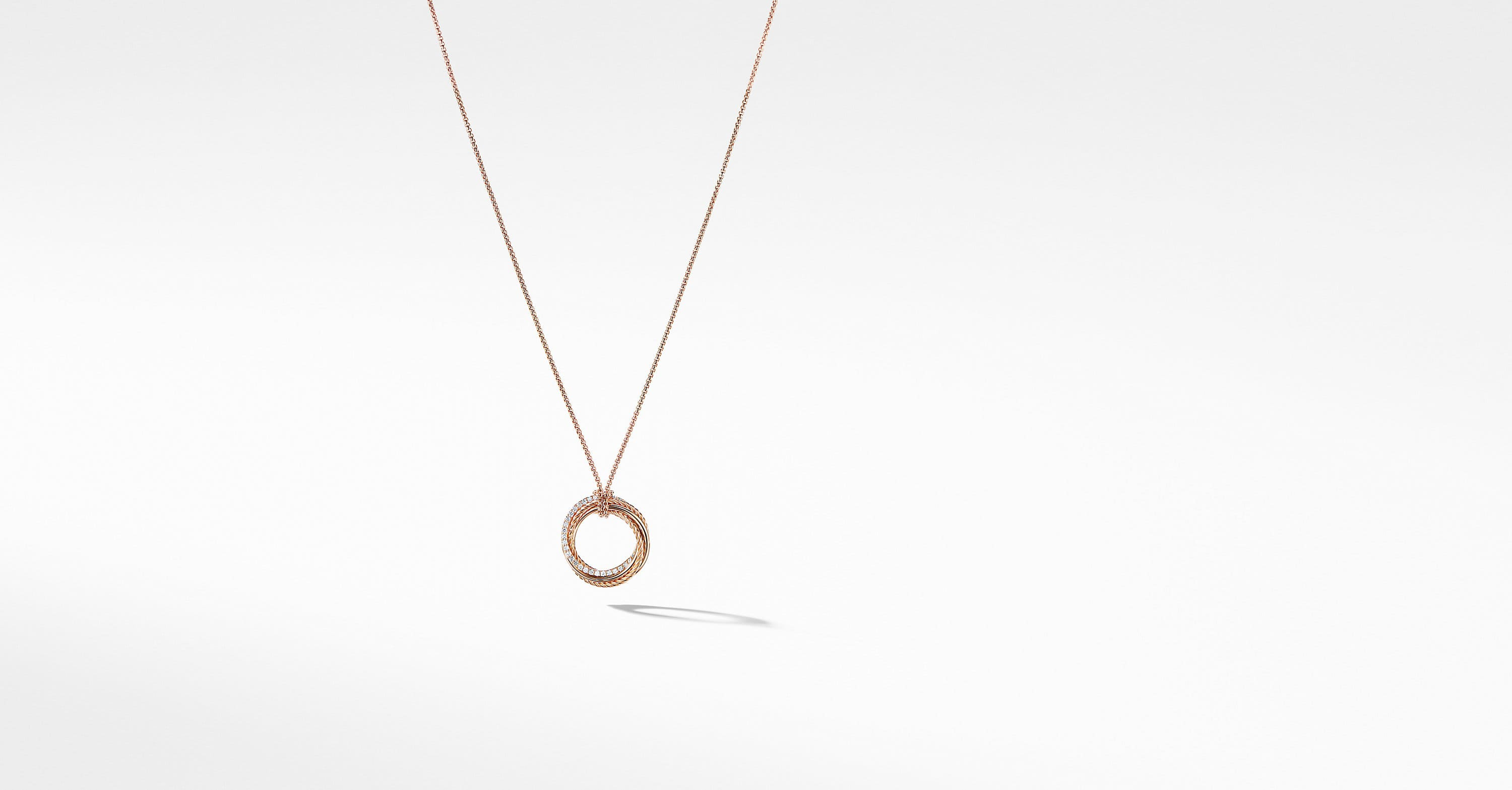 Crossover Pendant Necklace with Diamonds in 18K Rose Gold