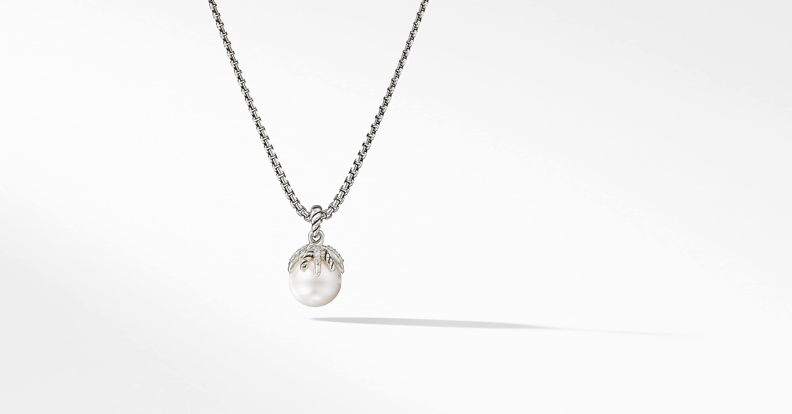 Starburst Pearl Pendant Necklace with Diamonds
