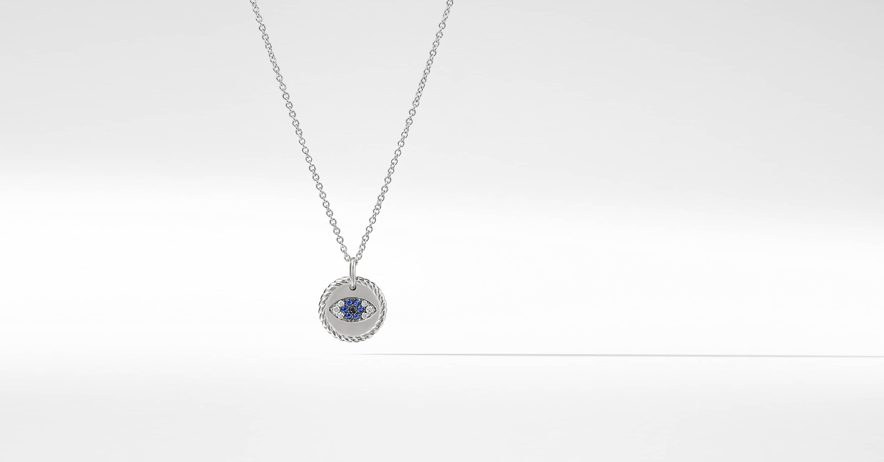 Cable Collectibles Evil Eye Necklace with Diamonds and Light Blue Sapphires in 18K White Gold