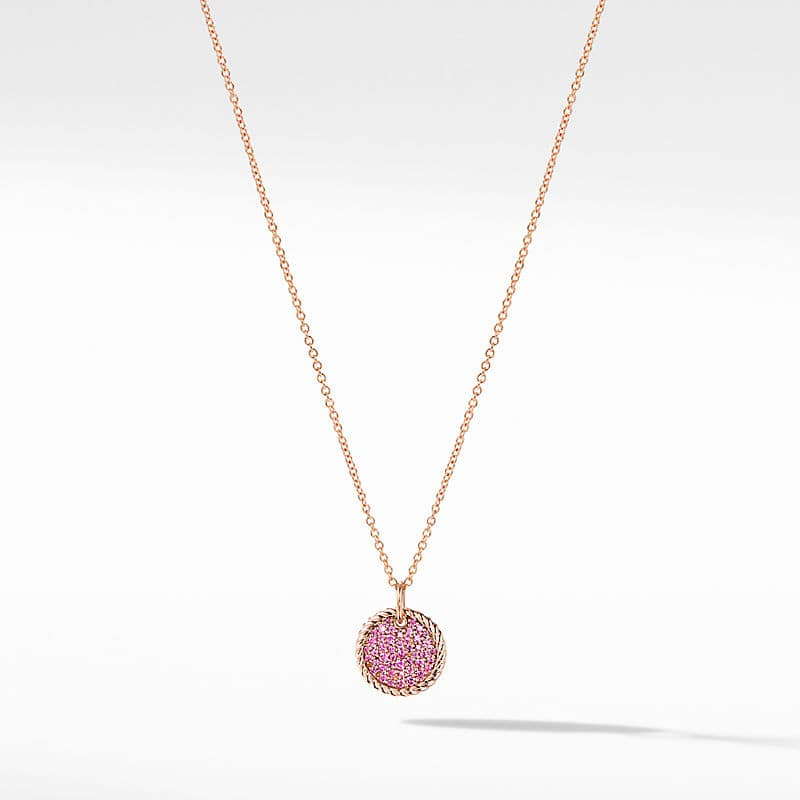 Cable Collectibles Pavé Plate Necklace in 18K Rose Gold